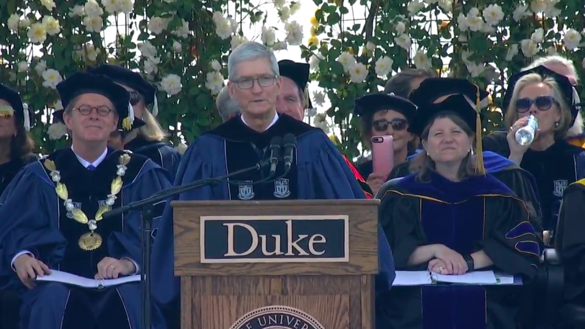 Apple CEO Tim Cook speaking at the 2018 Duke commencement.