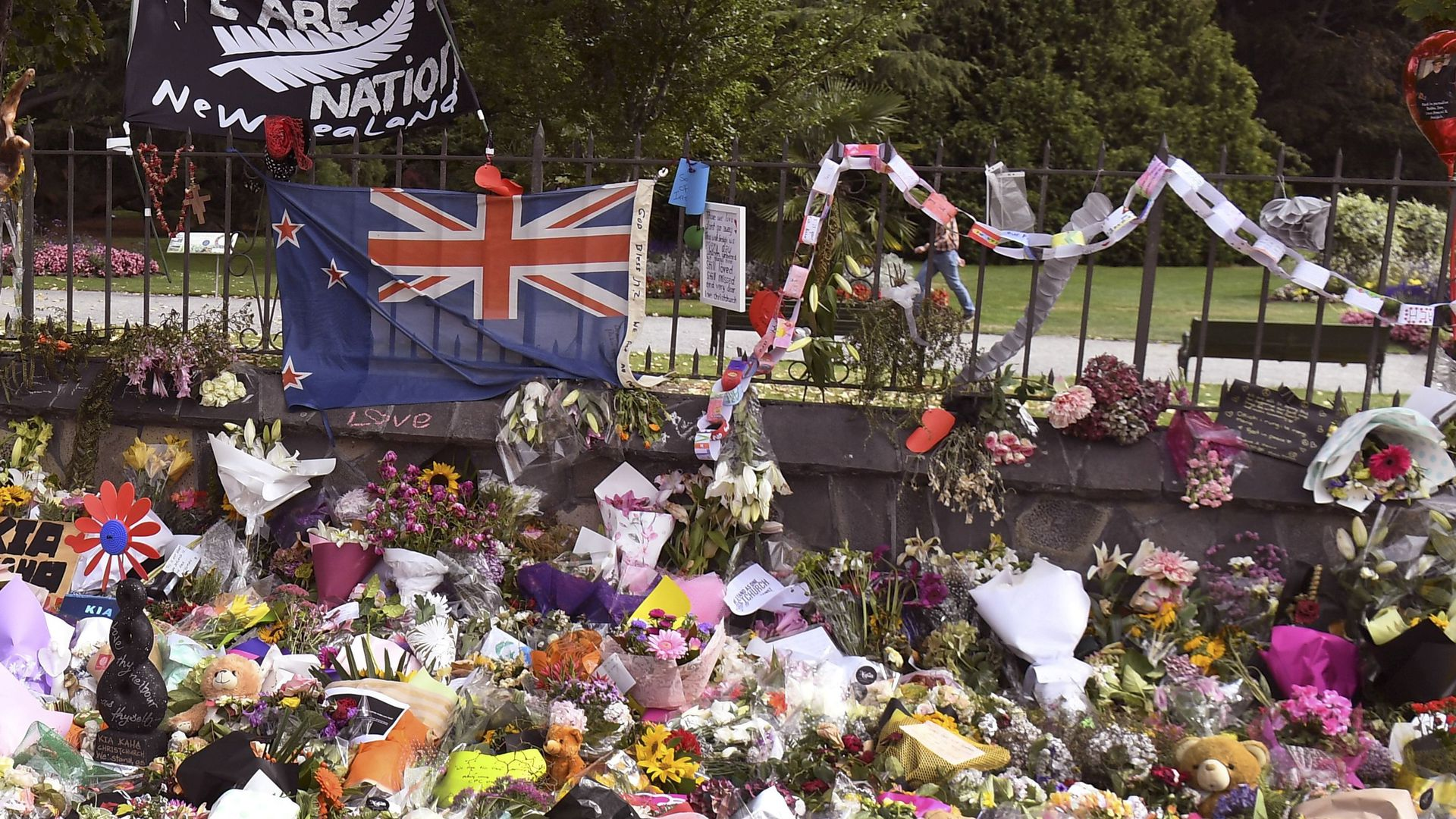 A memorial at the Botanic Gardens in Christchurch to the victims of the mosque attacks.