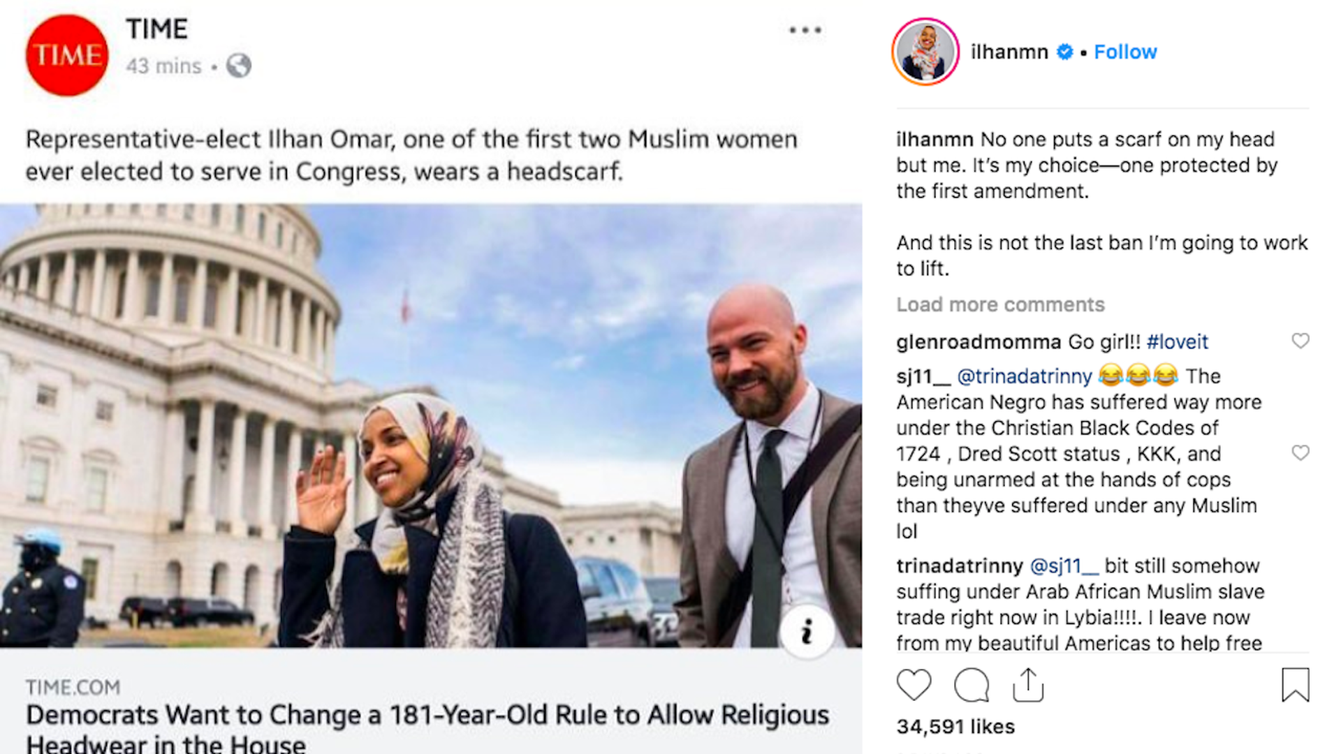 Screenshot from Ilhan Omar's Instagram profile