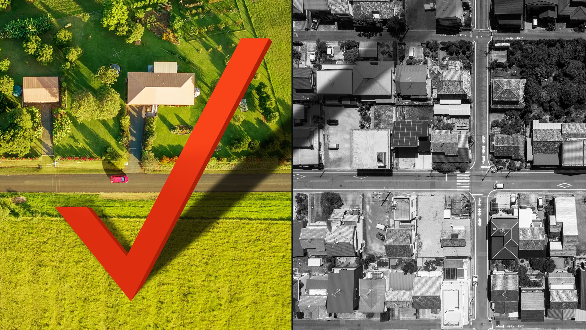 Illustration of a rural area in color with a giant check mark casting a shadow over the black and white urban area next to it