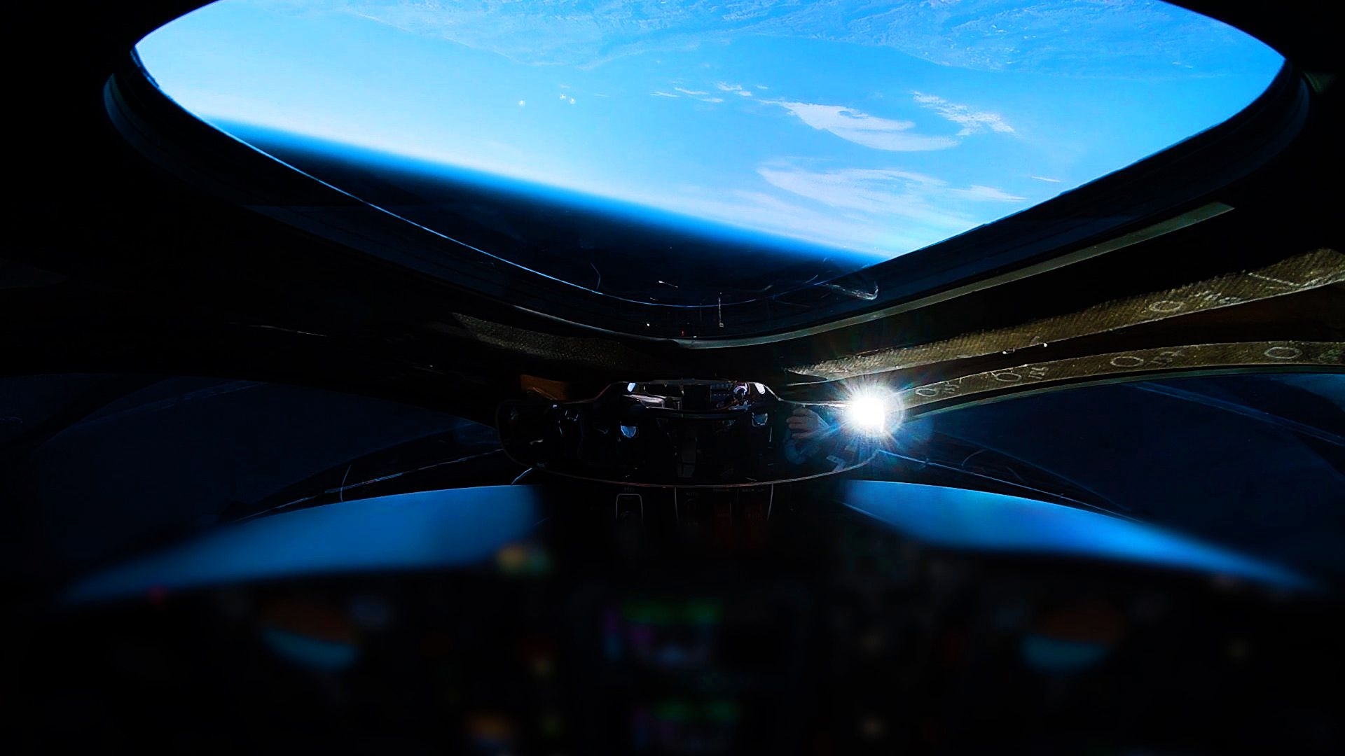 Image from the flight deck of Virgin Galactic's spaceship during the test flight