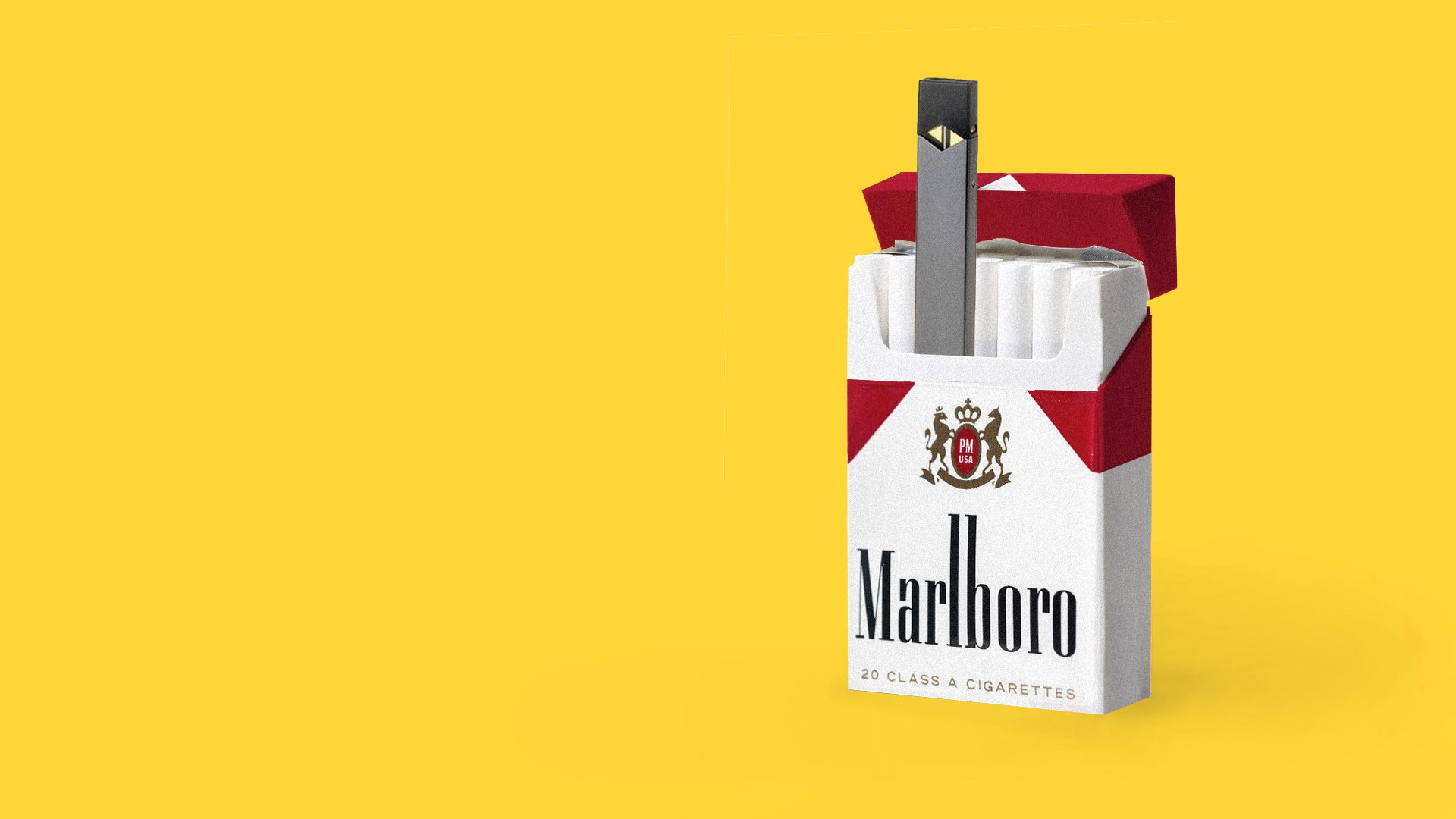Illustration of Juul vape in a pack of Marlboro cigarettes.