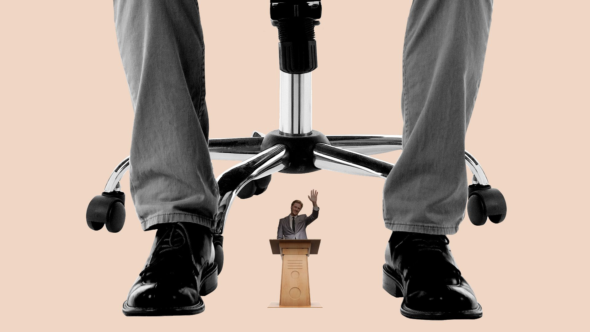 Illustration of a politician giving a speech at a podium, with a giant CEO sitting in an office chair casting a shadow from above.