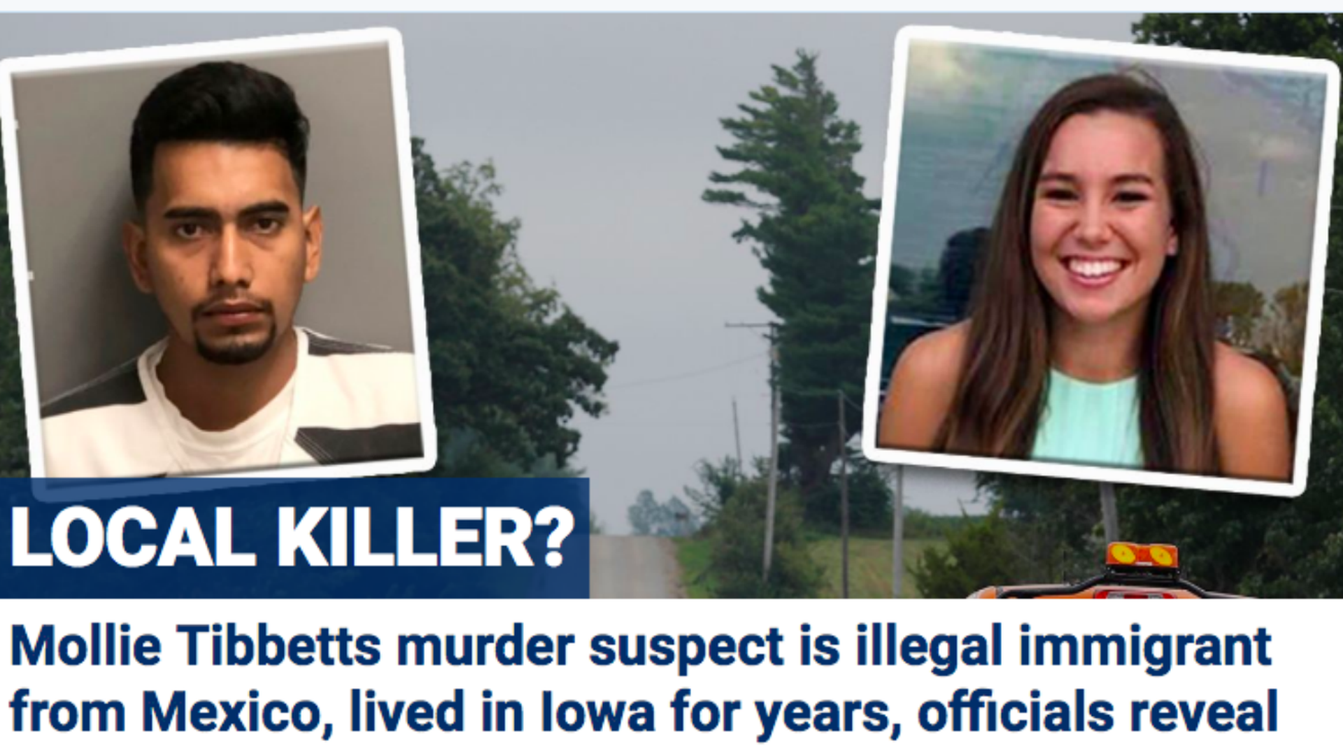 Mollie Tibbets and her alleged killer on Fox News