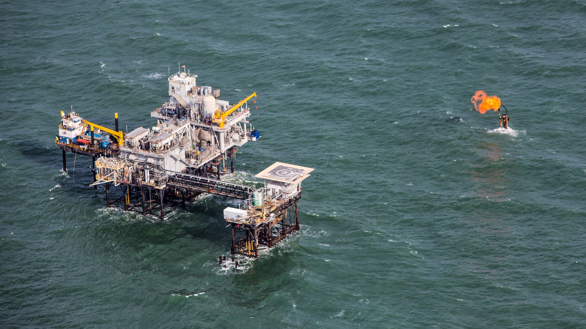 An offshore oil platform