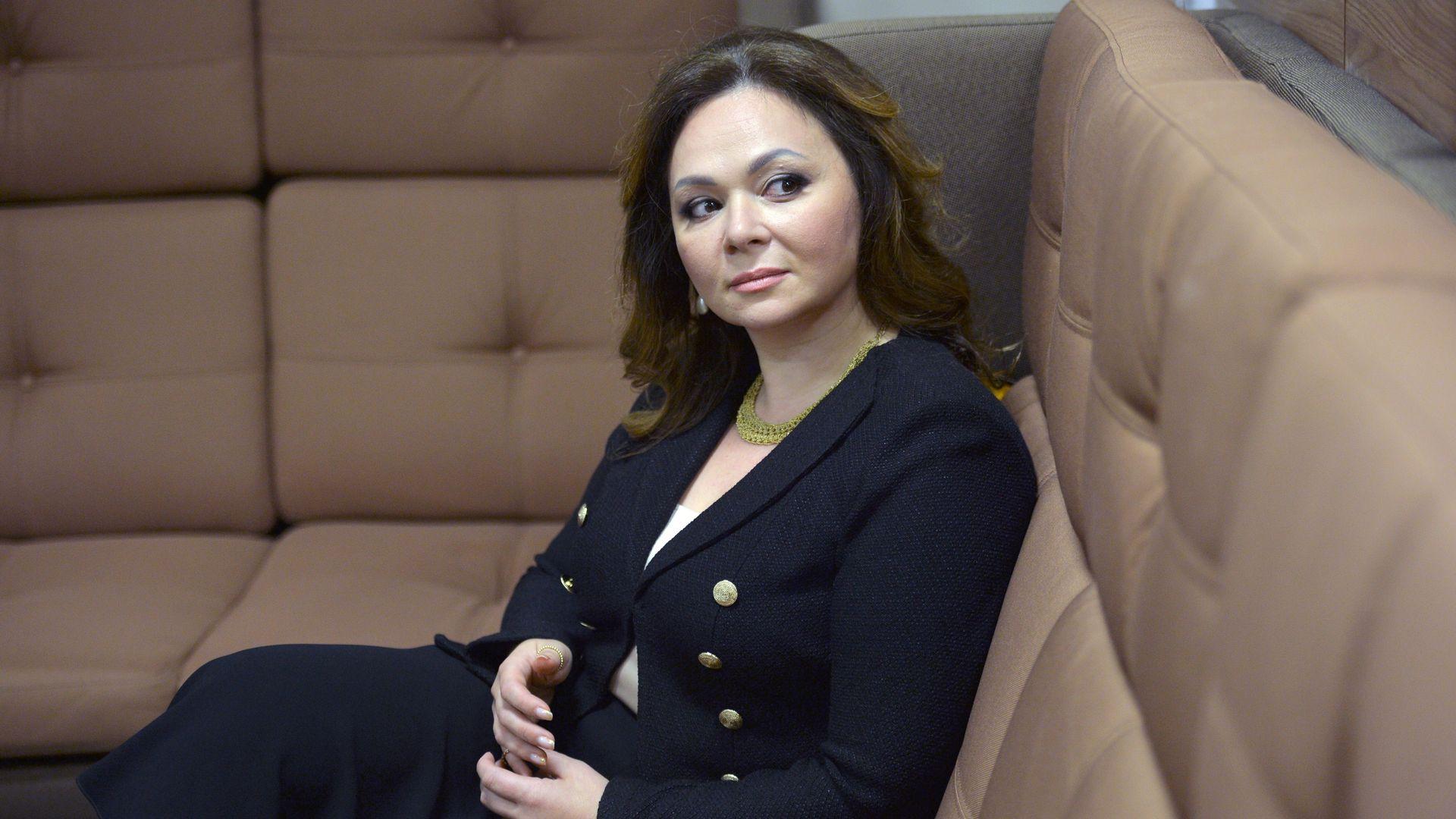 Natalya Veselnitskaya sitting on a couch looking sideways.