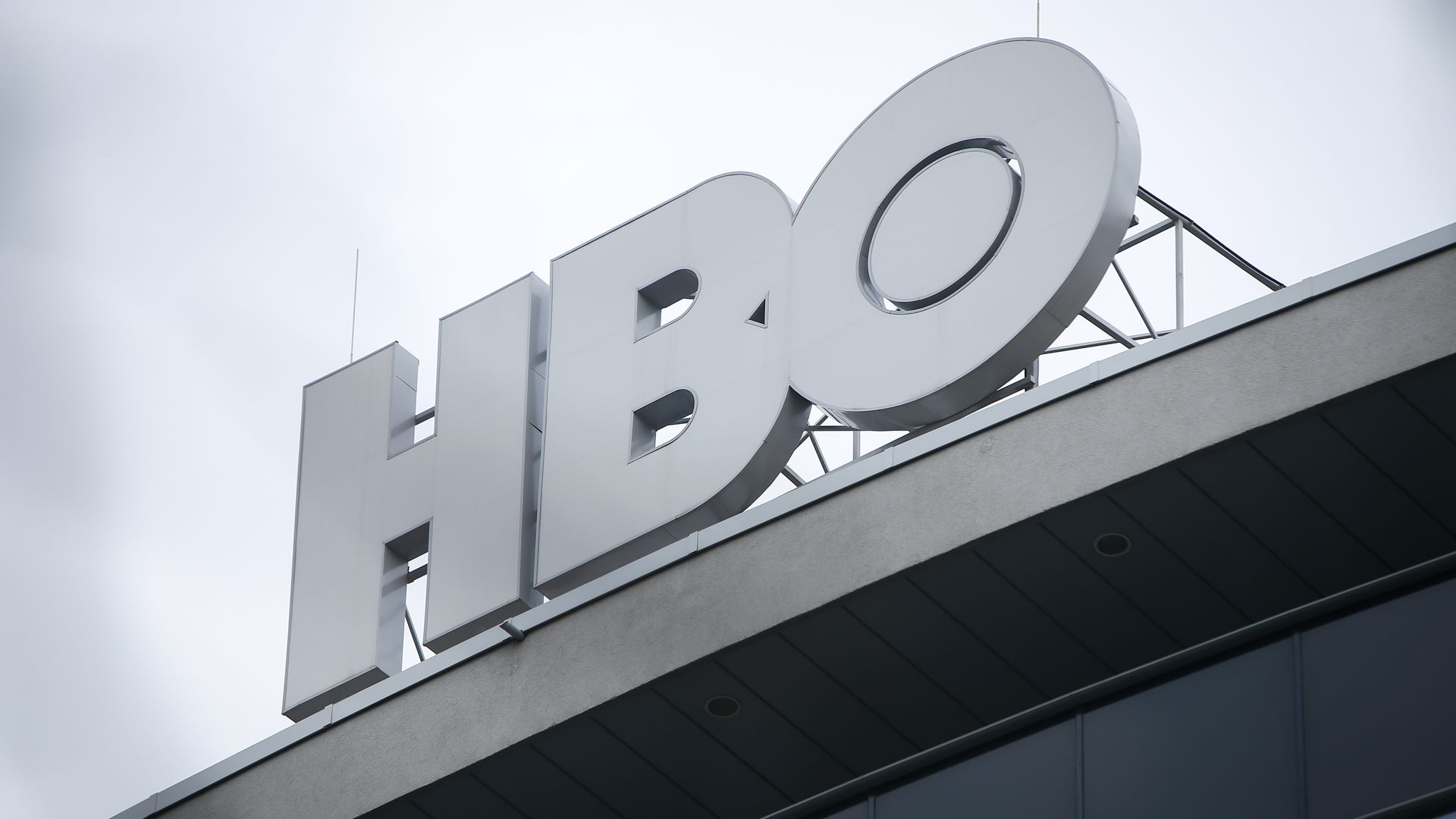 An HBO logo atop a building in Bucharest.