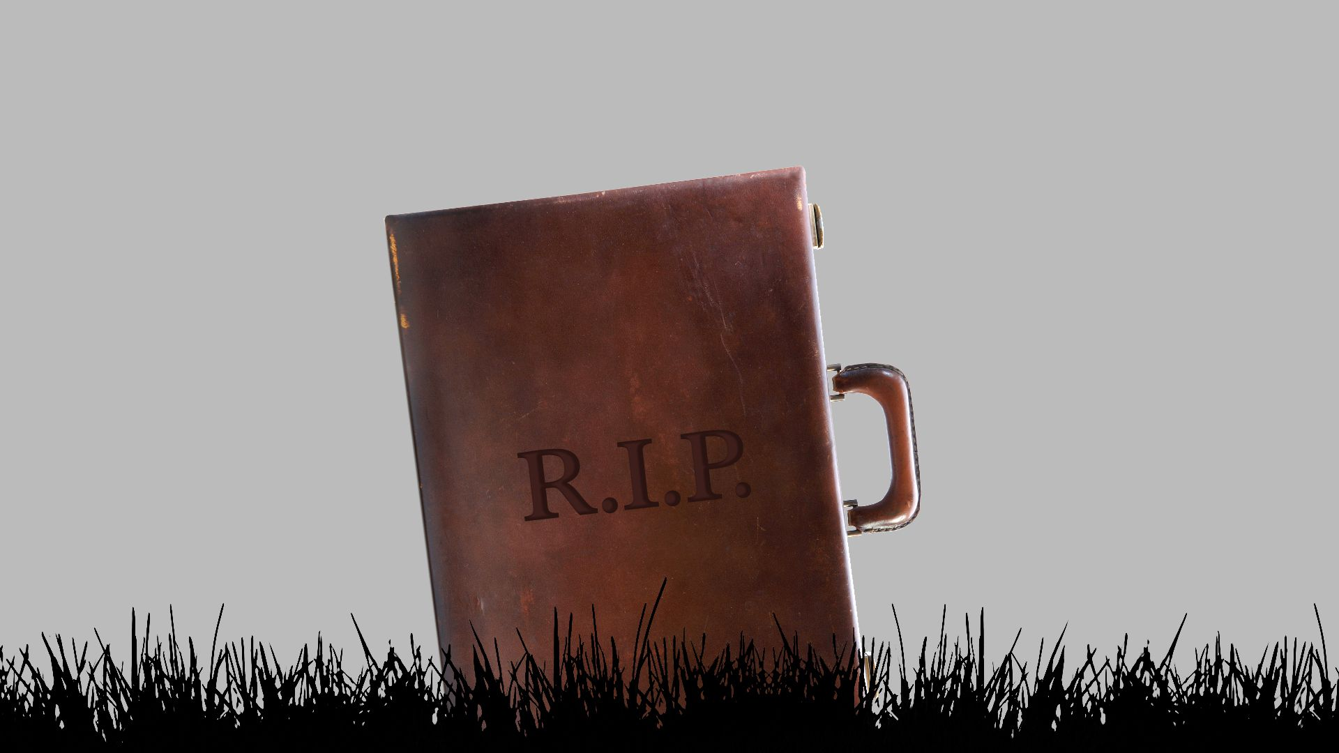 An illustration of a briefcase as a tombstone.