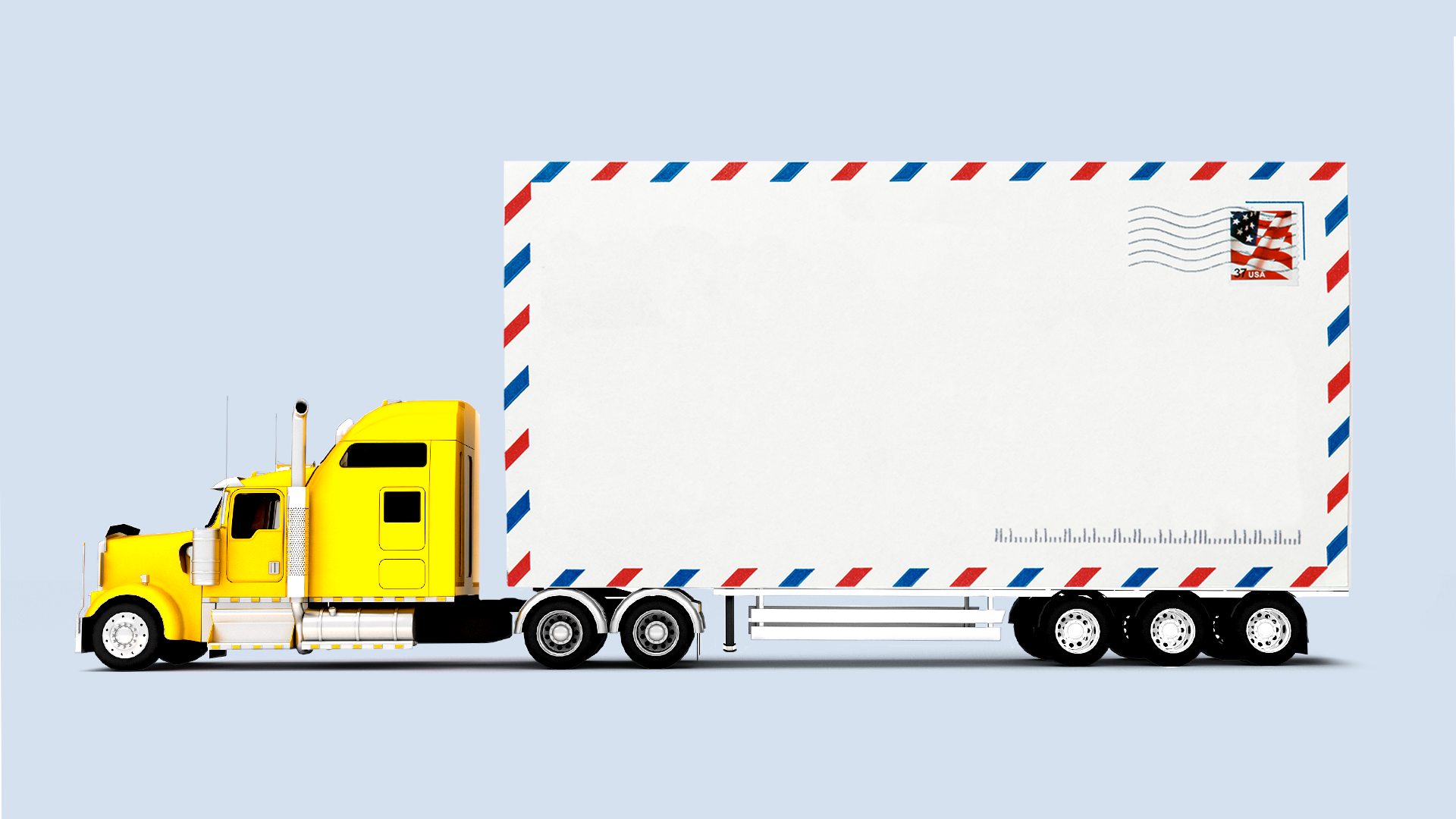 Illustration of an 18-wheeler with an envelope as the semi-trailer.