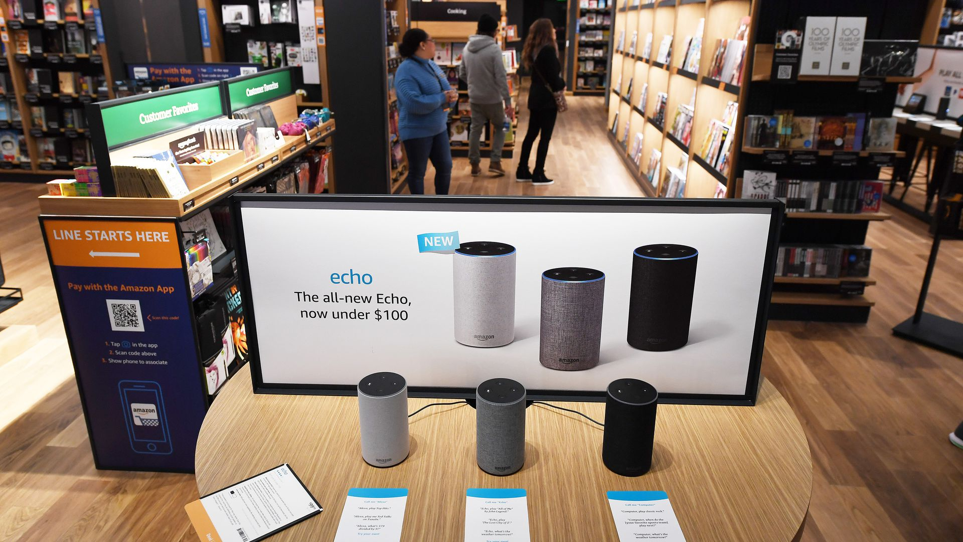 Photo of Amazon Echo devices on sale in an Amazon store.