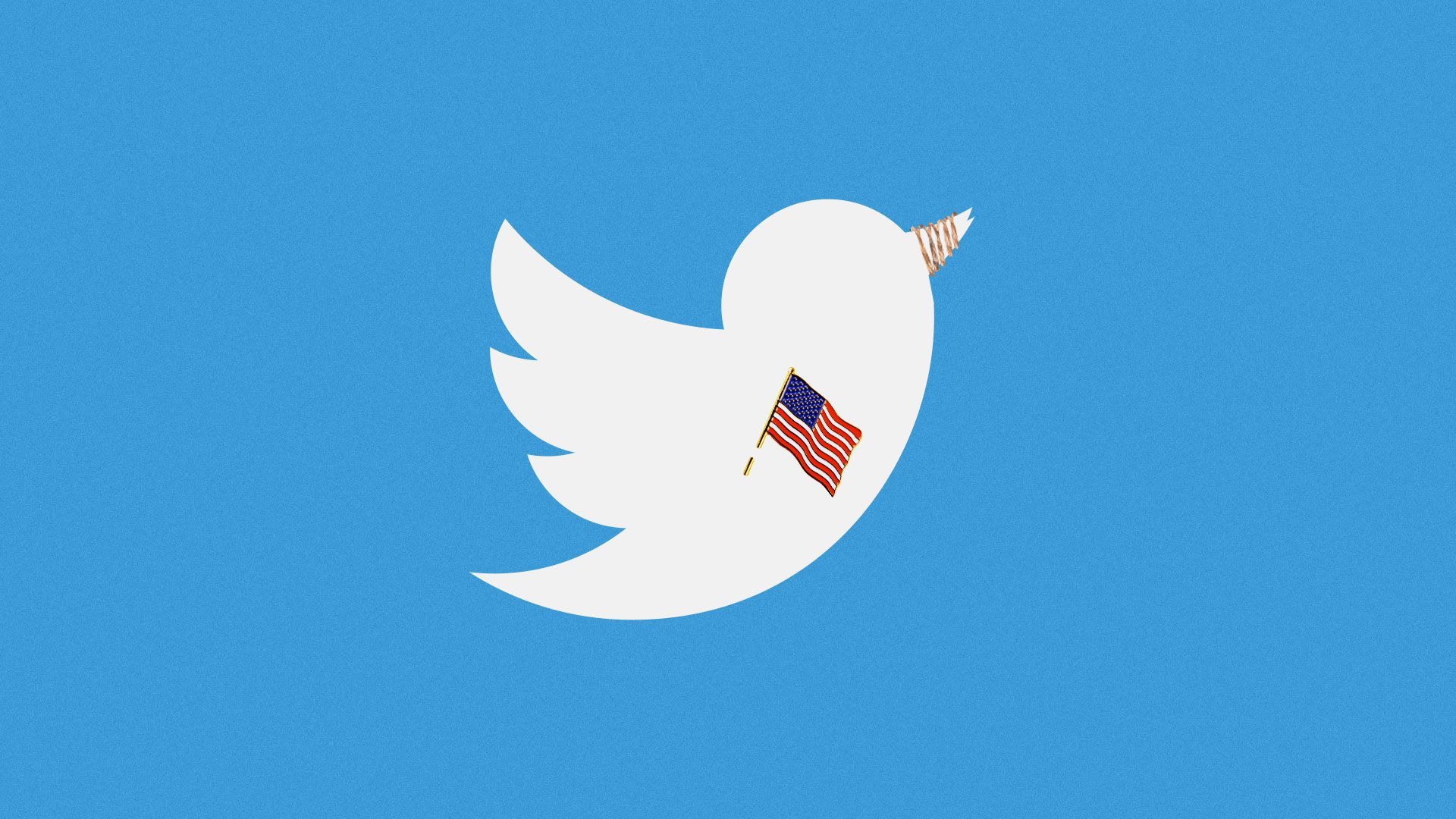 Illustration of Twitter bird wearing a U.S. Flag pin with its beak tied with rope.