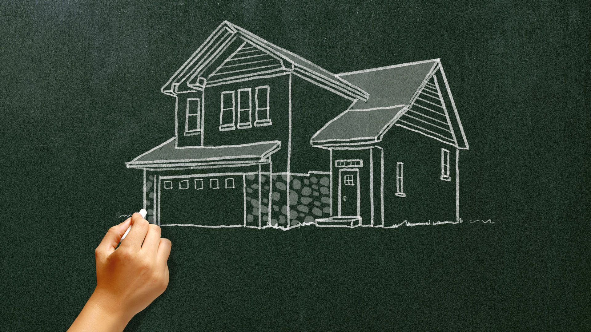 Illustration of a teacher's hand drawing a house on a blackboard