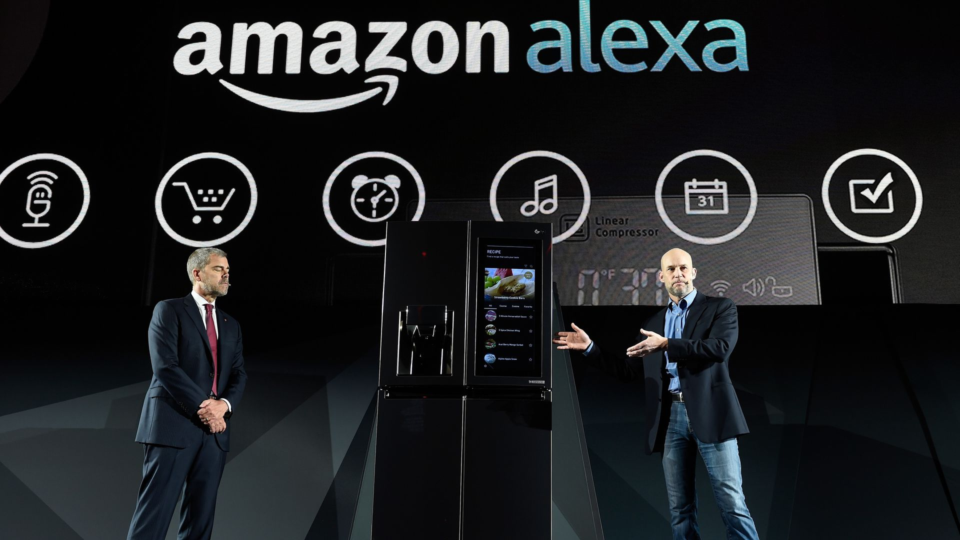 Amazon executives on stage introduce new Alexa products