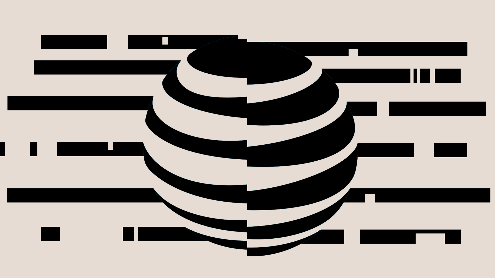 A illustration with a distorted version of AT&T's logo against a beige backdrop