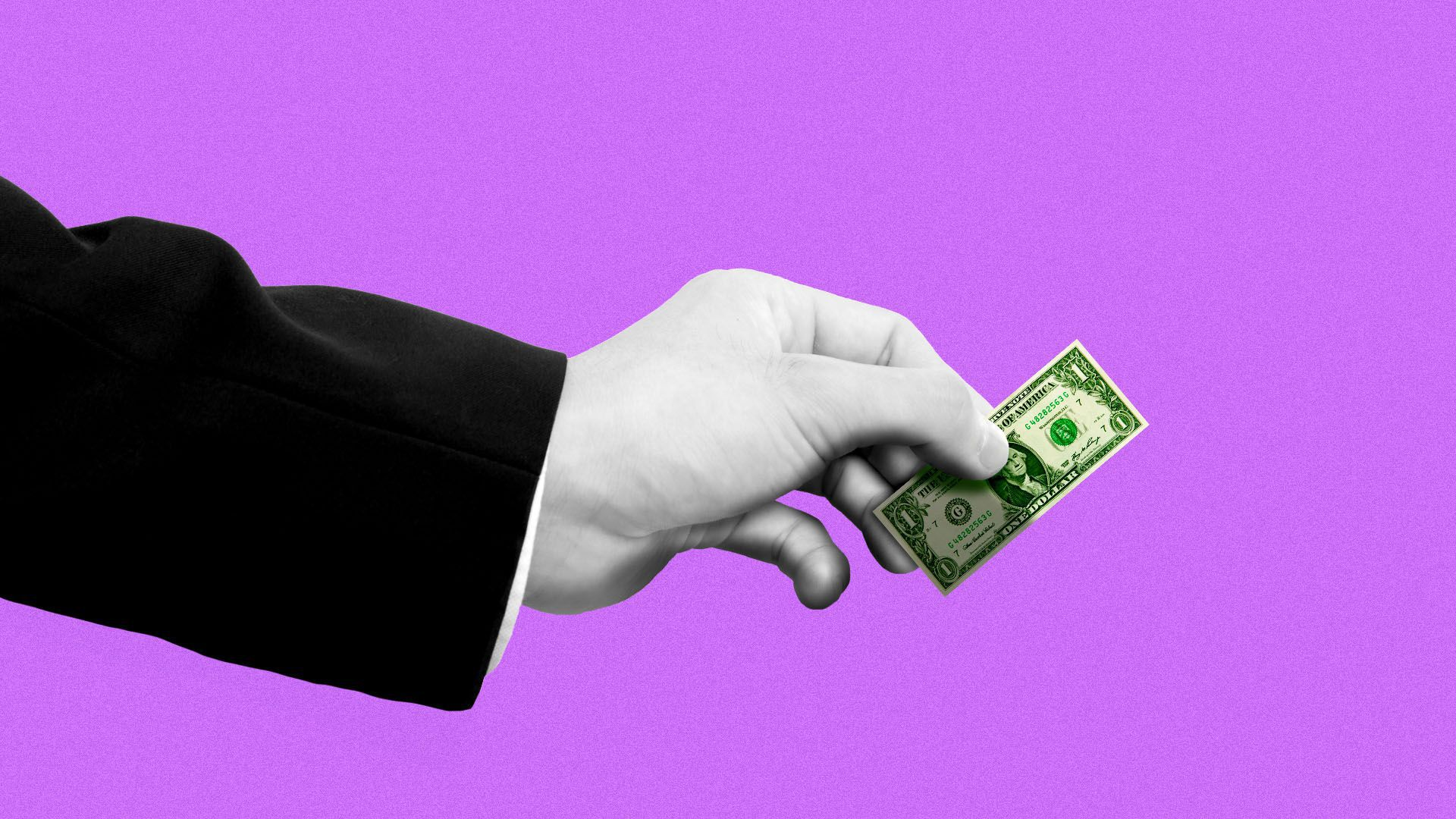 Illustration of a hand in a suit handing out a tiny dollar