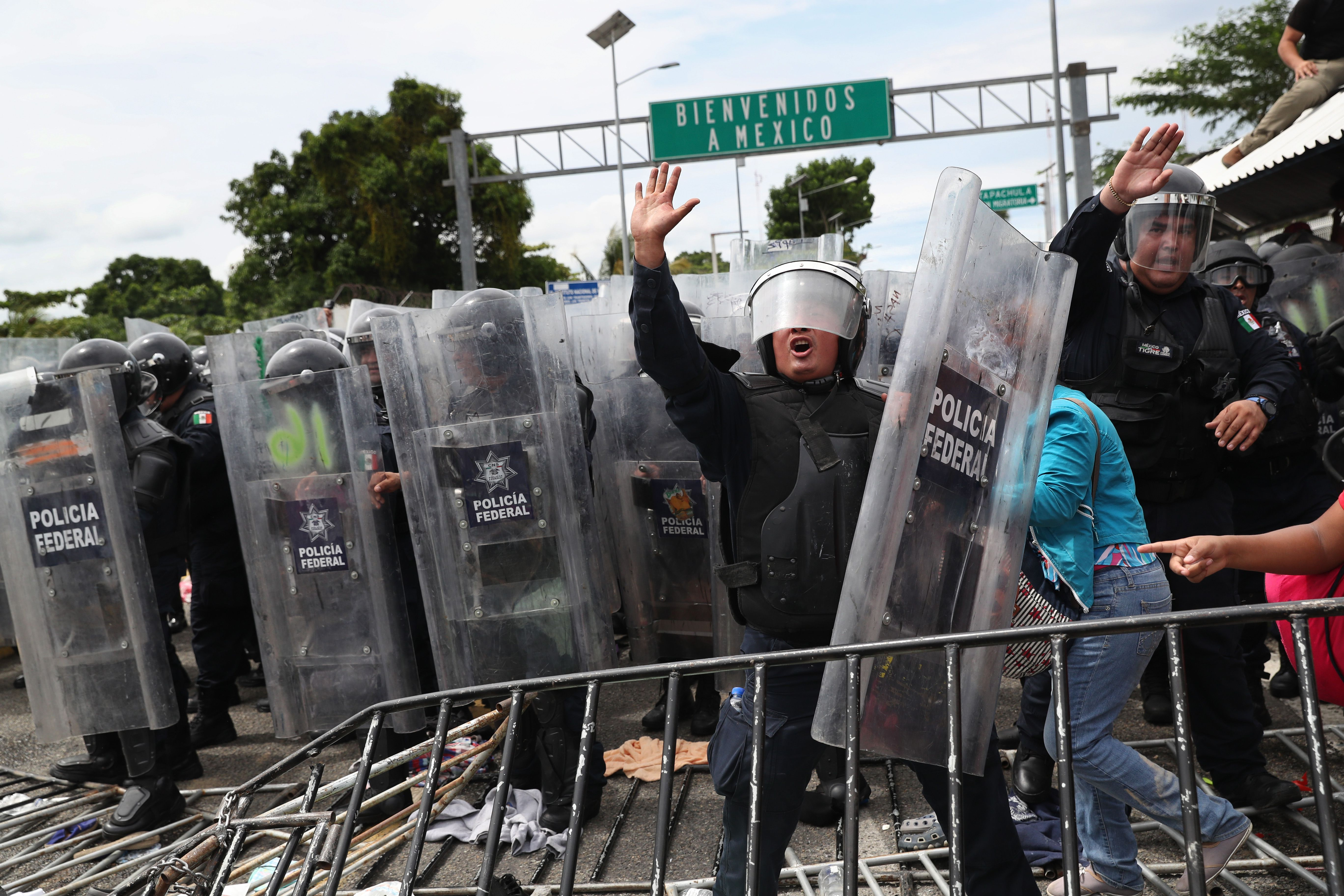 Mexican authorities holding riot shields