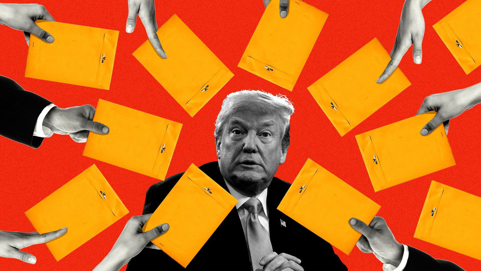 Axios illustration of Trump being served subpoenas