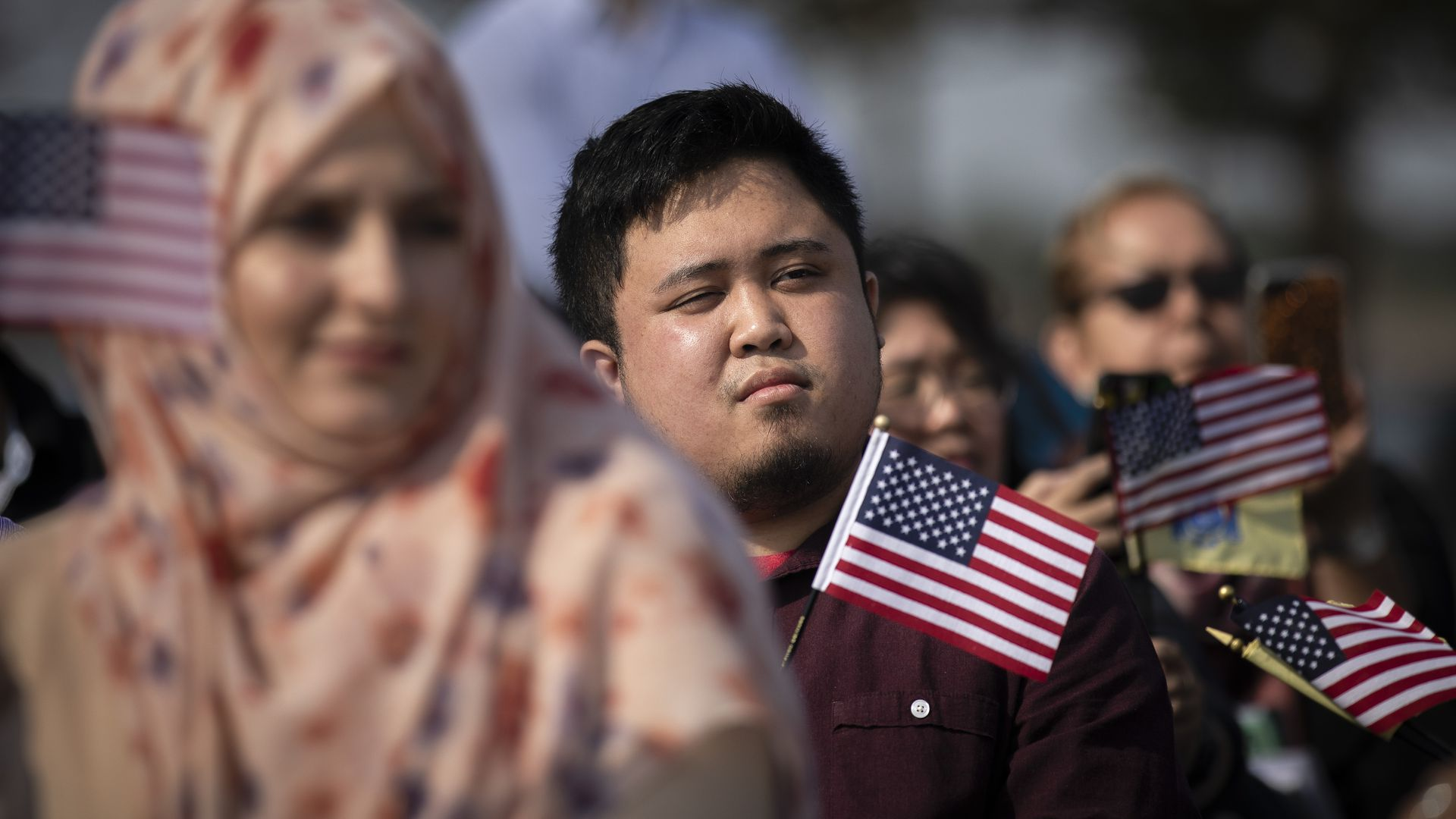 New American citizens during a naturalization ceremony.