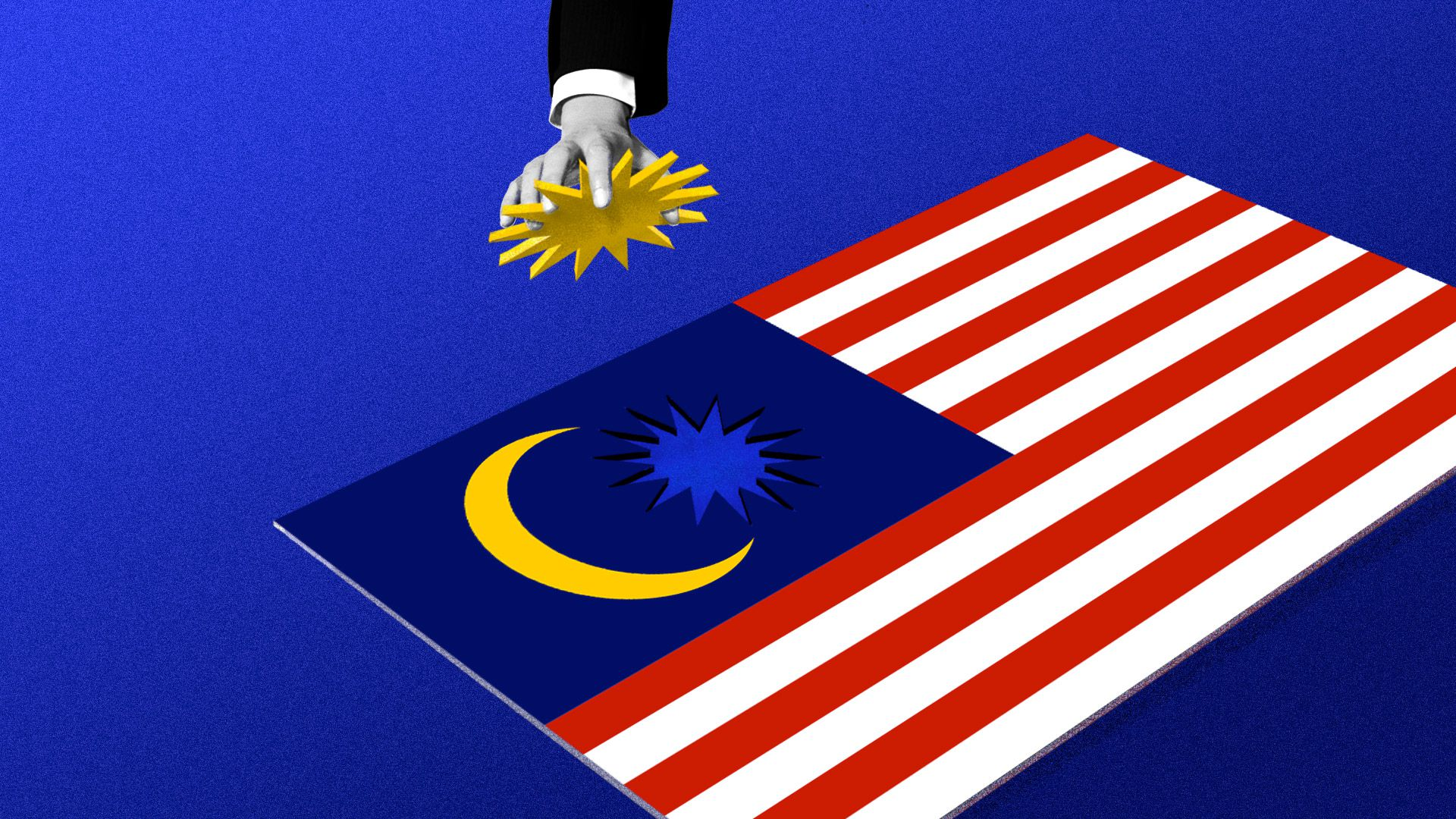 A hand pulling the star from the Malaysian flag