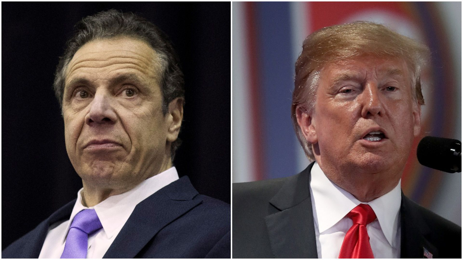 Close ups of New York Gov Andrew Cuomo on left, Donald Trump on right