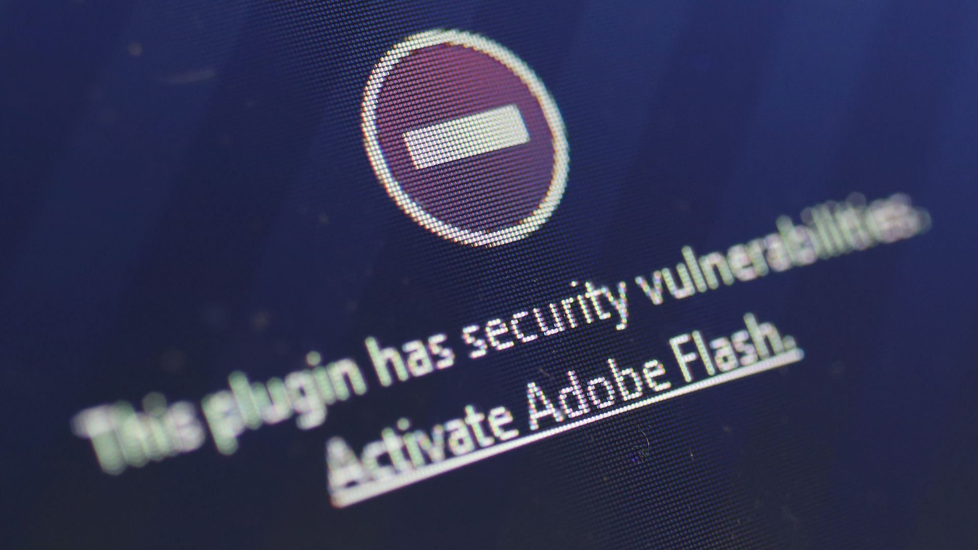 A message warning users against Flash