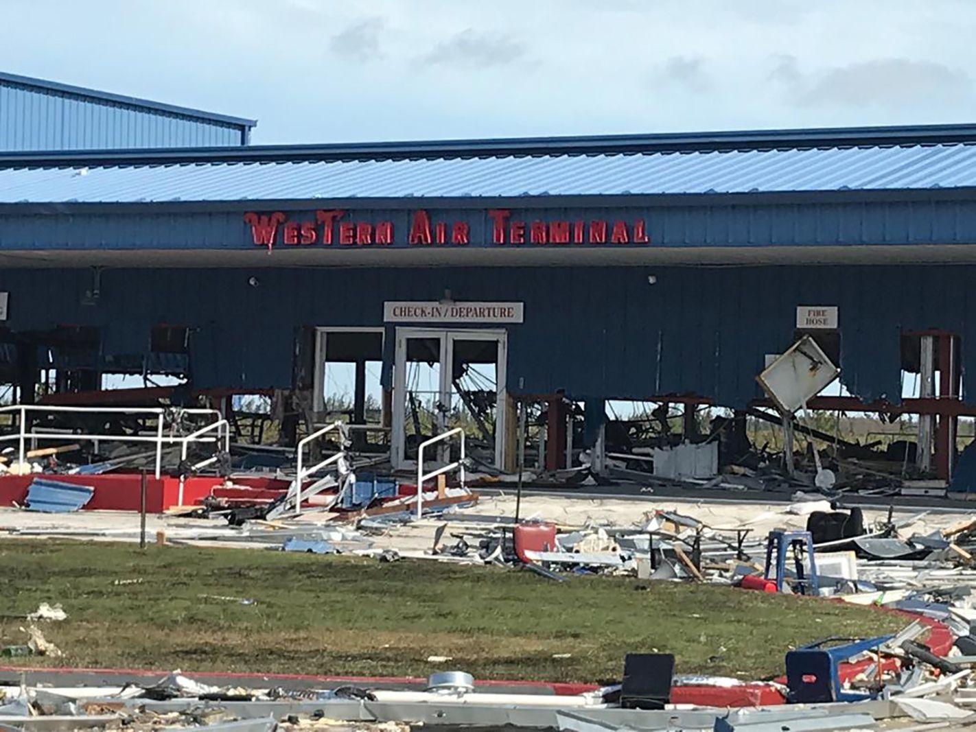 Debris left by Hurricane Dorian litters Grand Bahama International Airport in Freeport