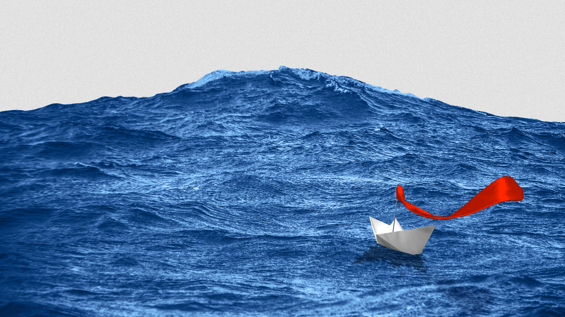 Illustration of a paper boat with a red tie as a flag going up against a giant blue wave.