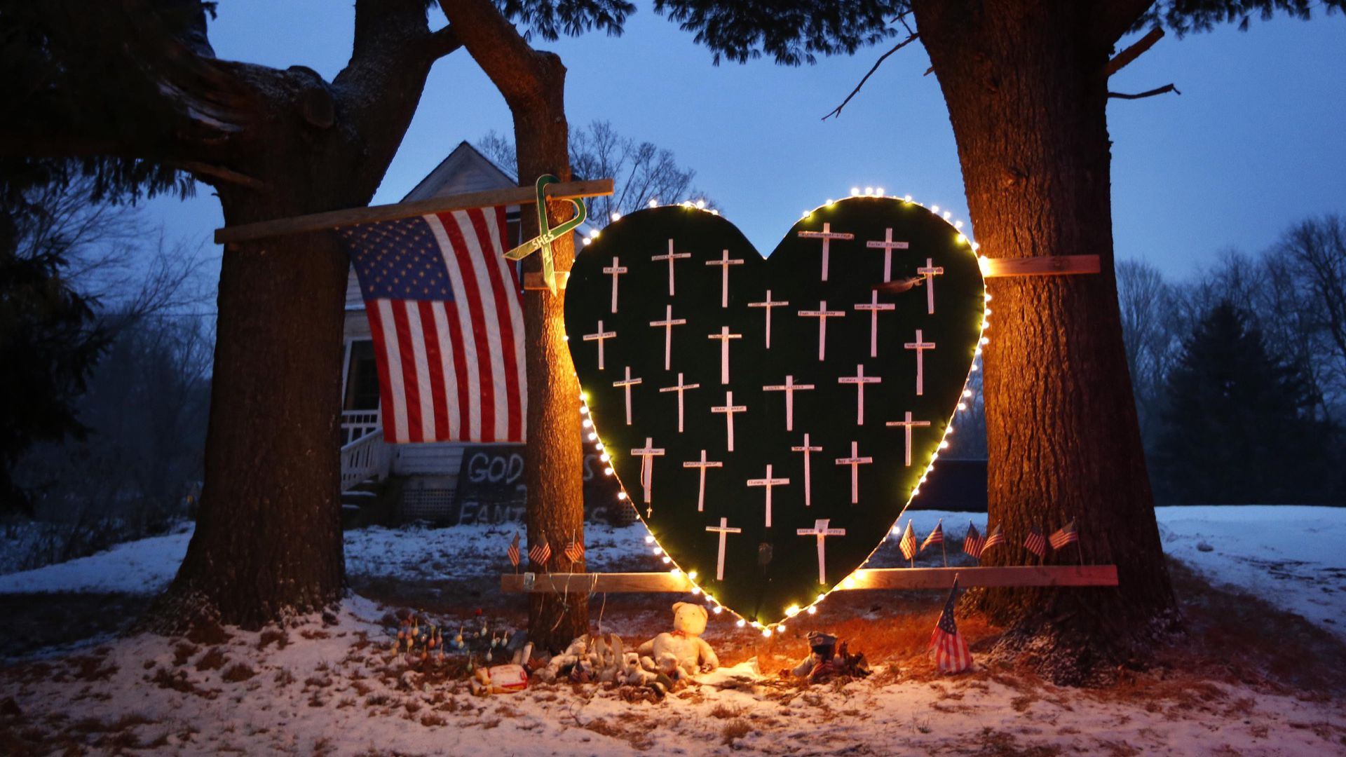 A memorial to the Sandy Hook shooting victims