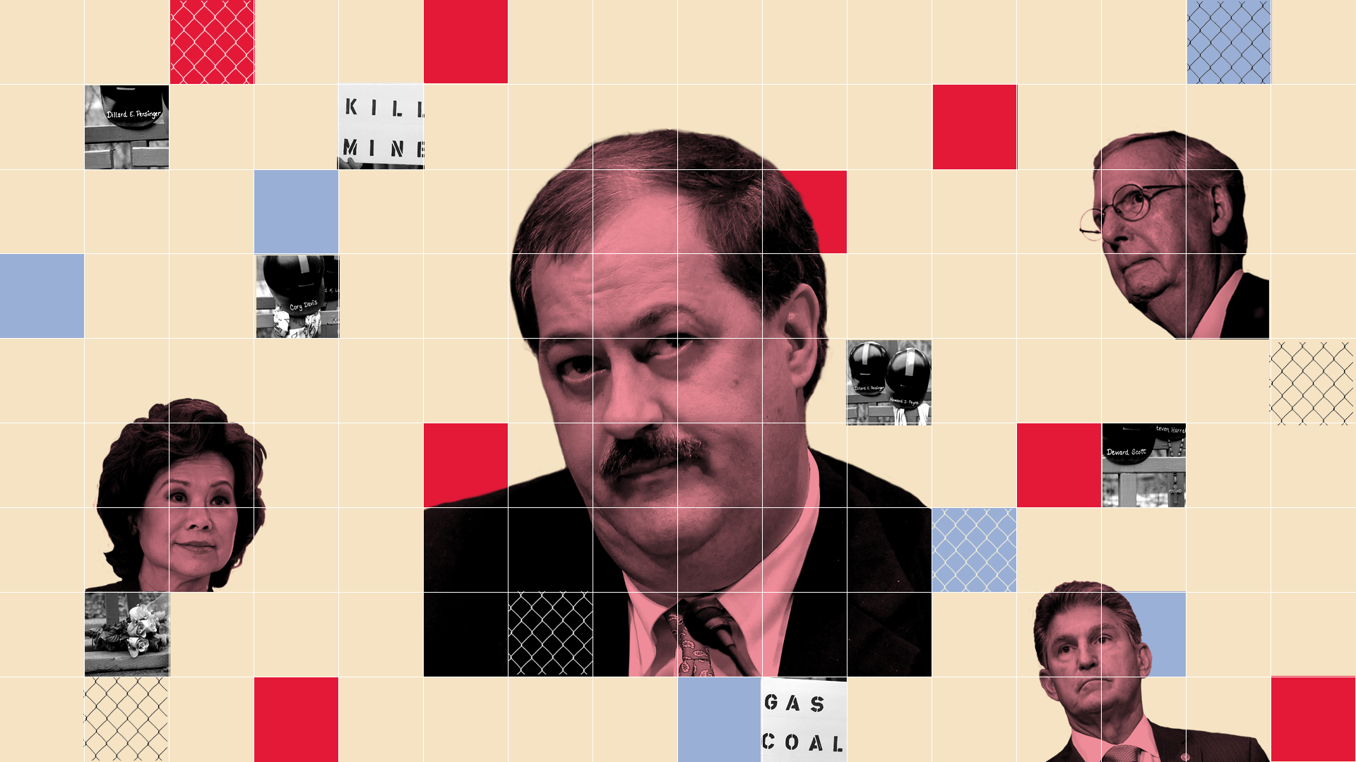 Don Blankenship surrounded by Elaine Chao, Mitch McConnell