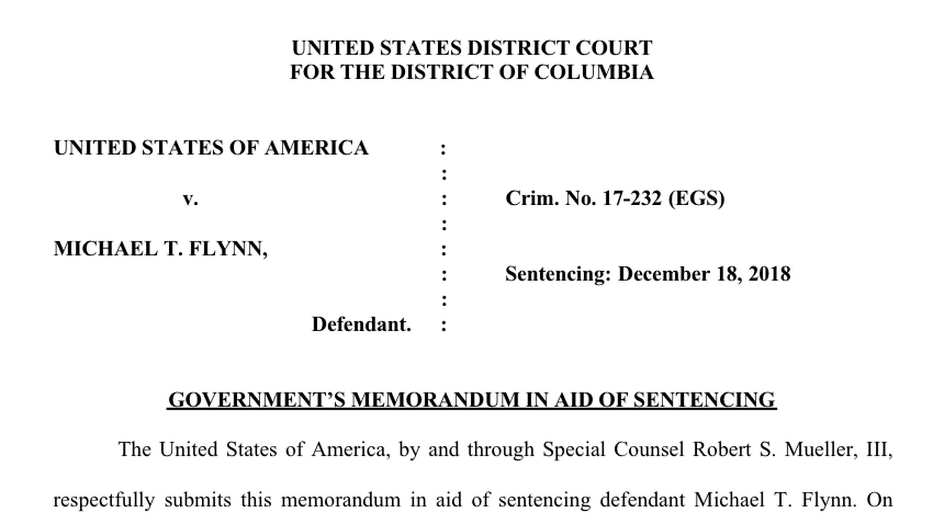 Read the Mueller investigation's Michael Flynn sentencing memo
