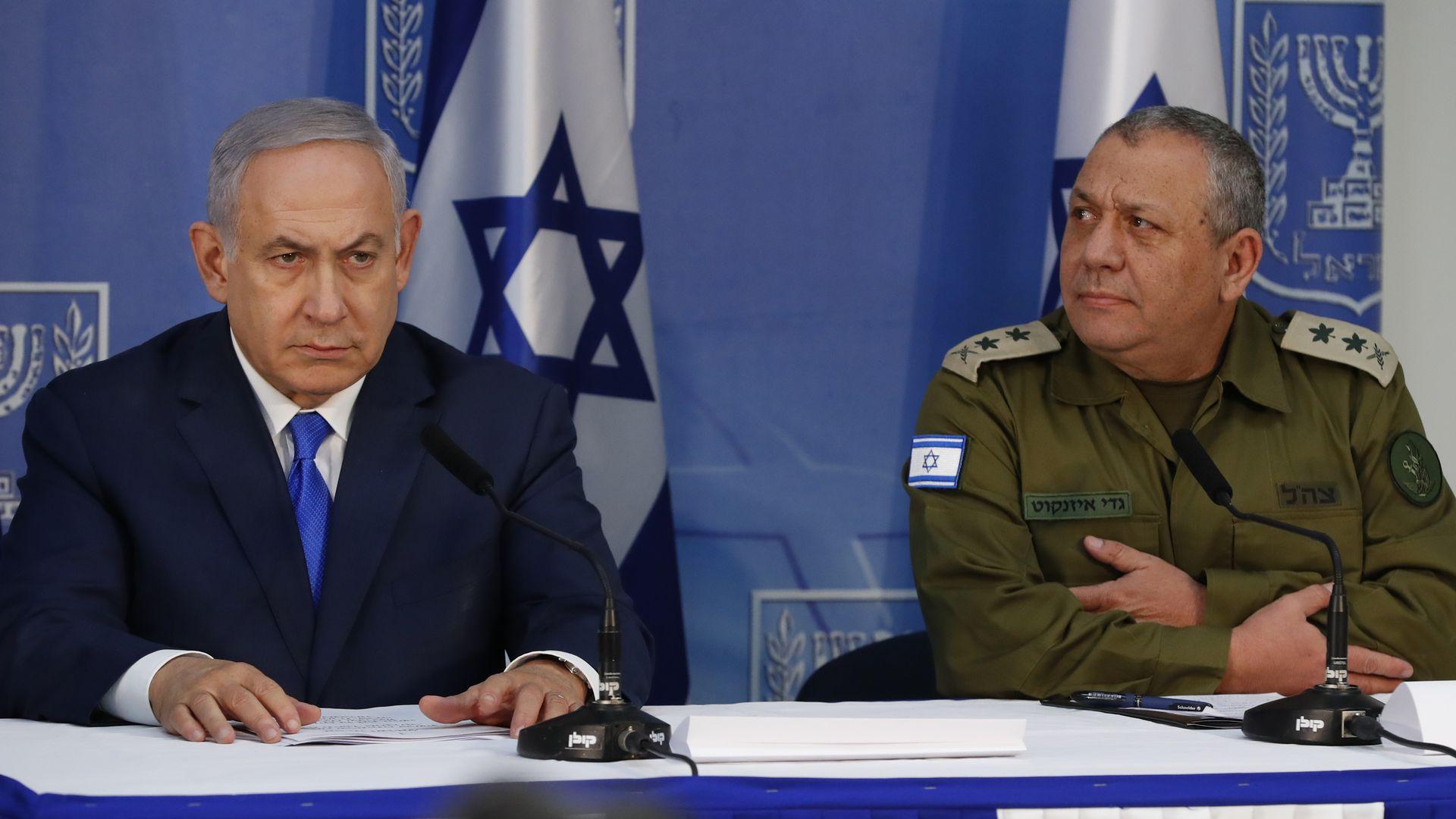 Gadi Eizenkot with Benjamin Netanyahu