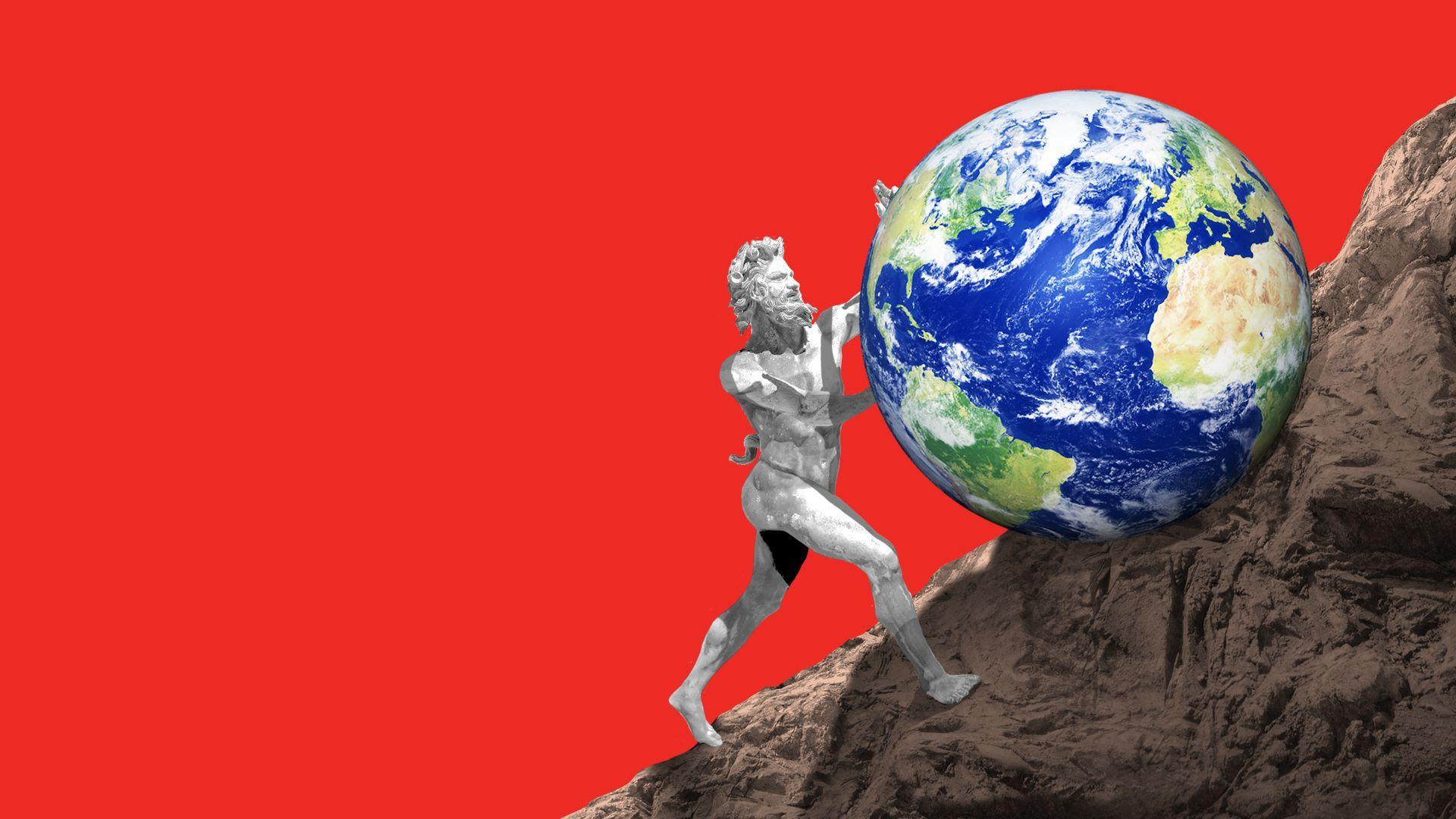 illustration of greek statue rolling up a globe