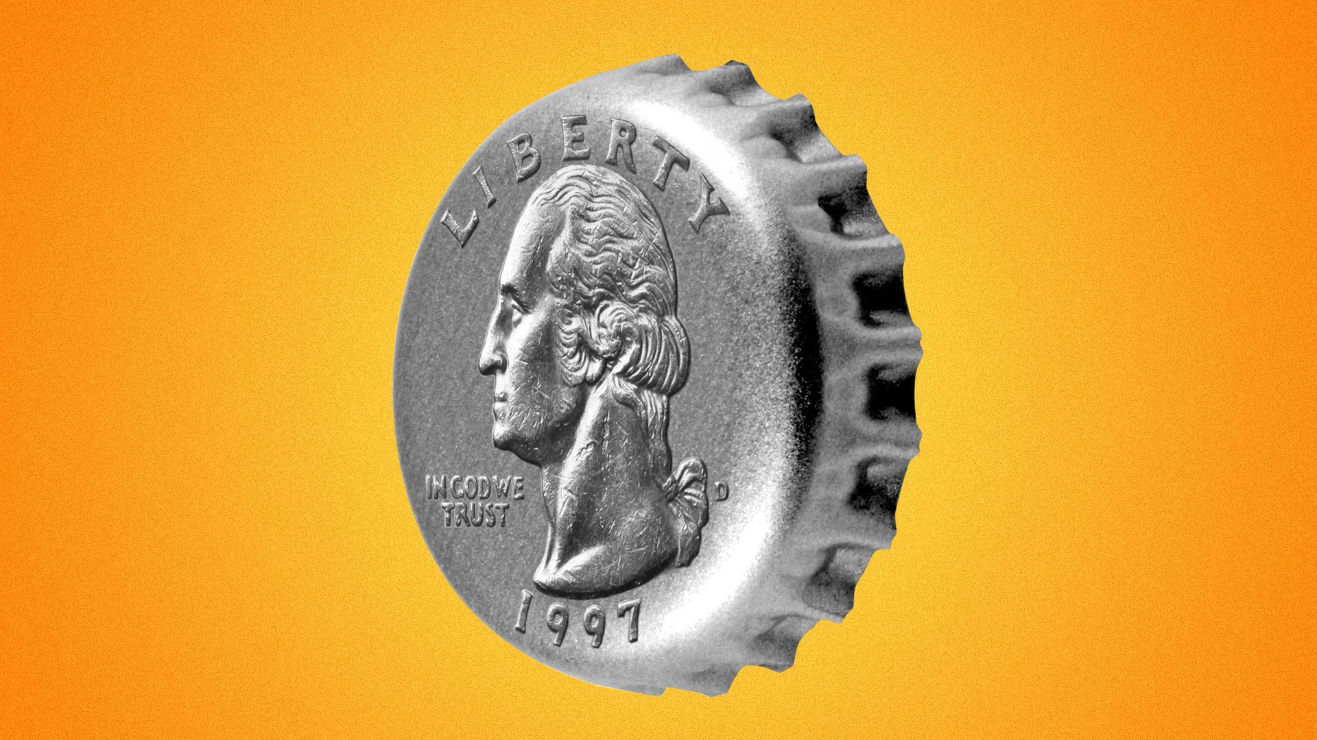 Illustration of a bottle cap with the design from a quarter on it.