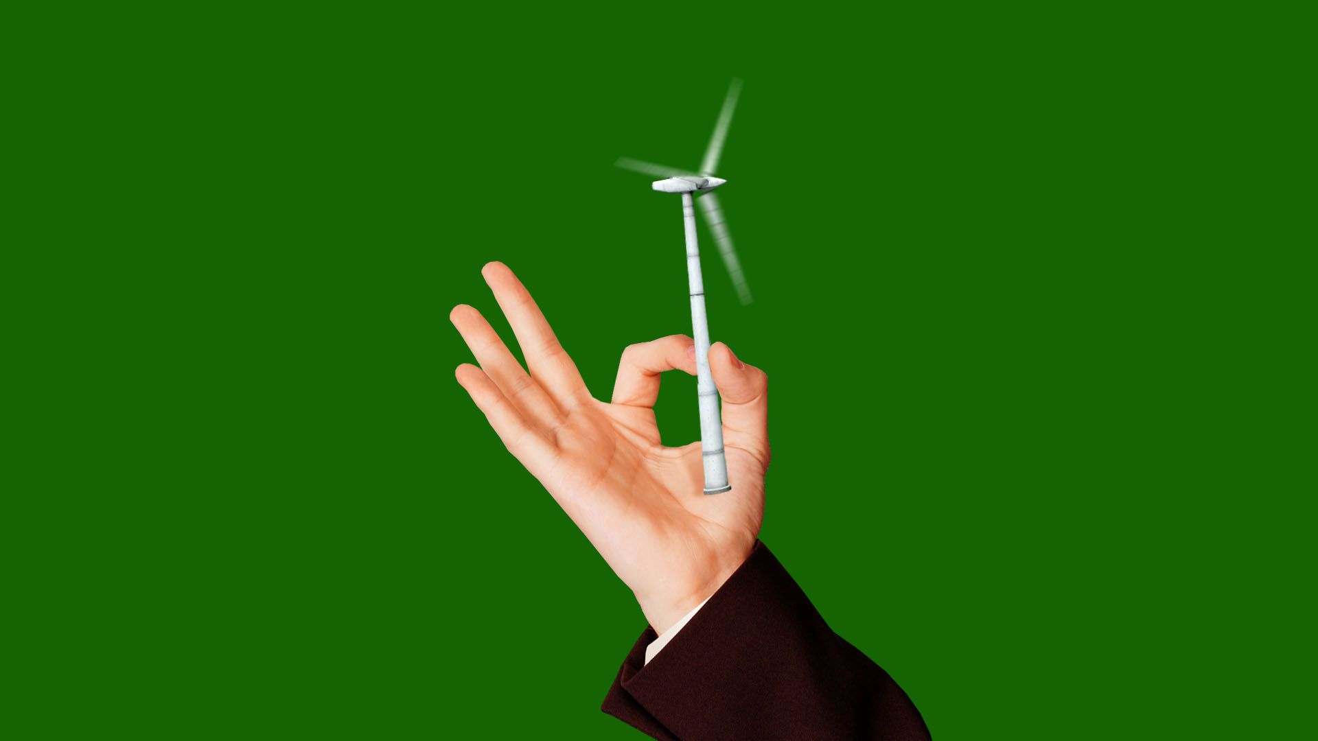 Illustration of hand in suit holding tiny wind turbine