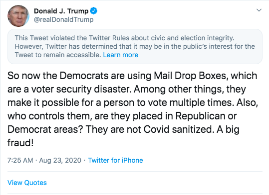Twitter flags Trump tweet about mail drop boxes for violating election rules thumbnail