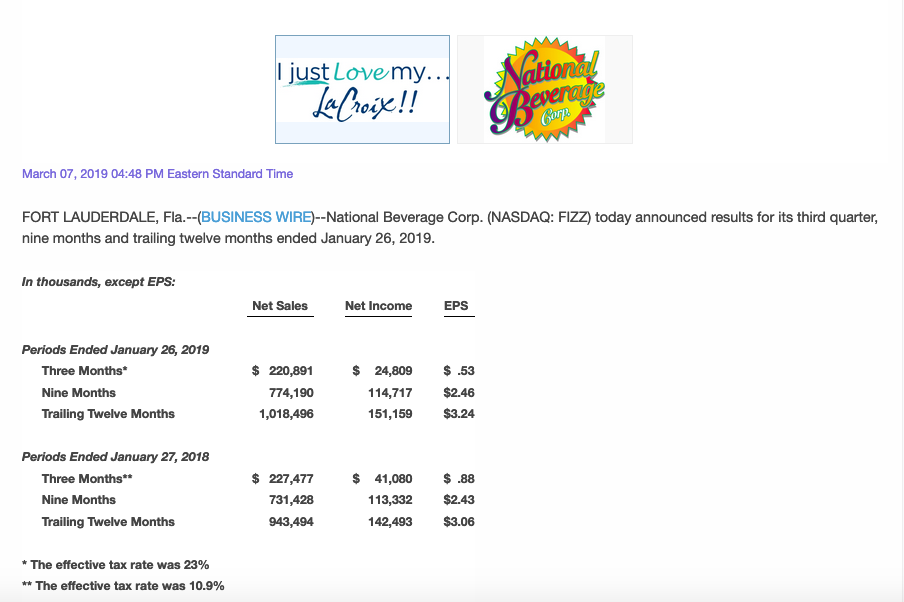 A screenshot of beverage company LaCroix's earnings report.