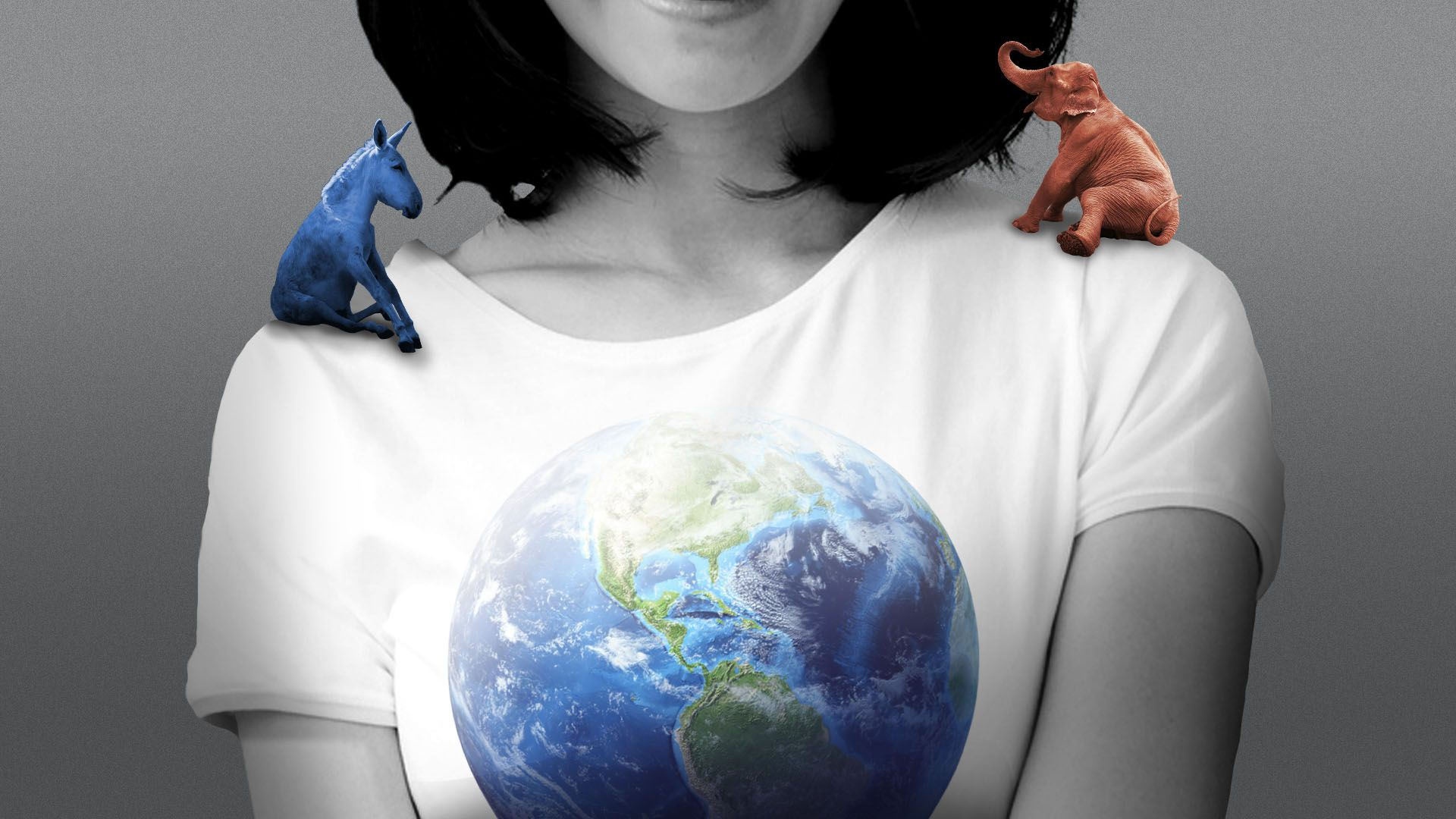 Illustration of a swing voter wearing an earth t-shirt, with a donkey on one shoulder and an elephant on the other.