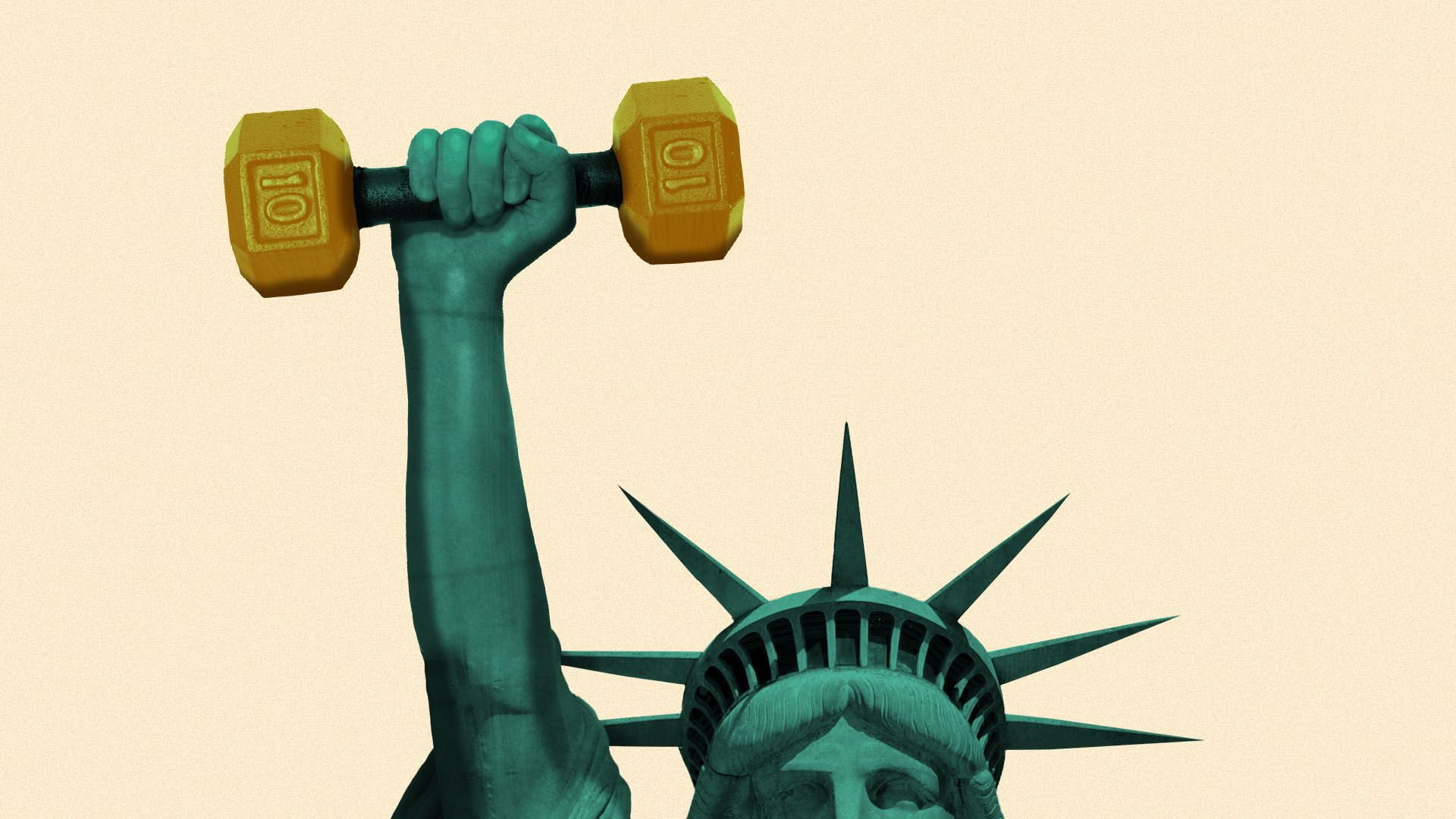 Illustration of the statue of liberty holding a dumbbell