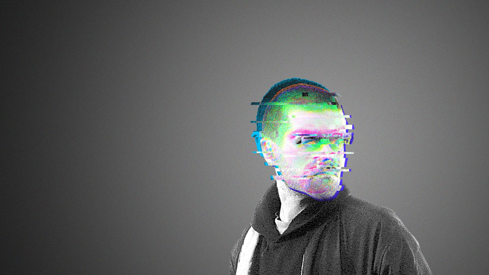 Illustration of a man whose face is obscured by digital glitches.