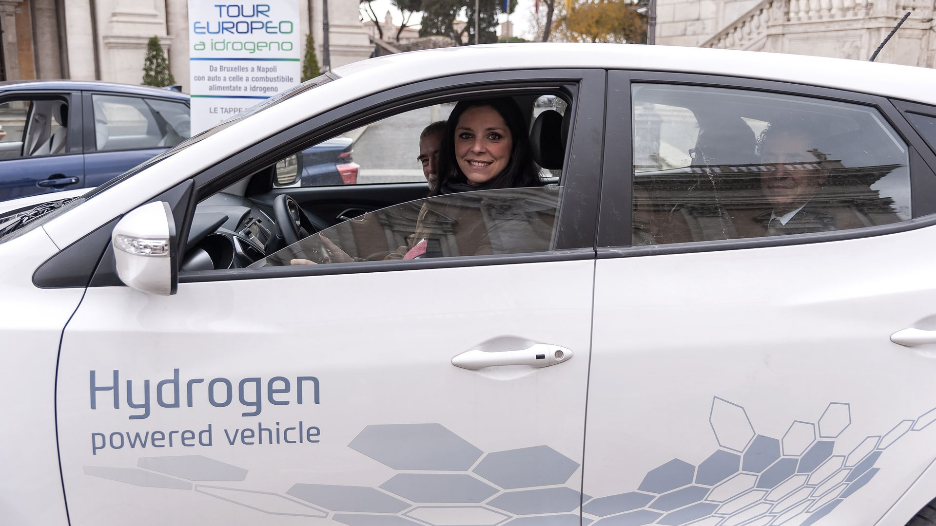 Linda Meleo Councillor for Mobility of Rome driving a hydrogen car in Campidoglio on December 9, 2017, in Rome, Italy.