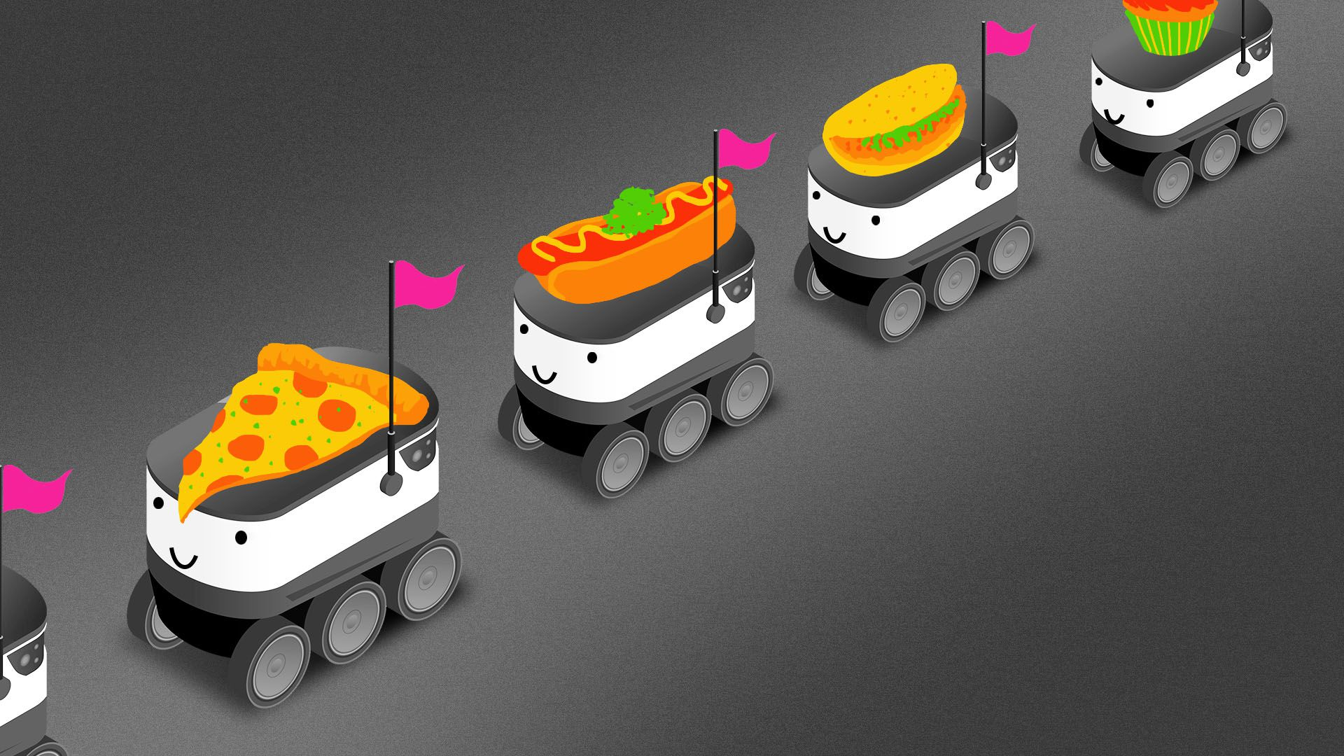 Illustration of a line of delivery robots with food items on their backs