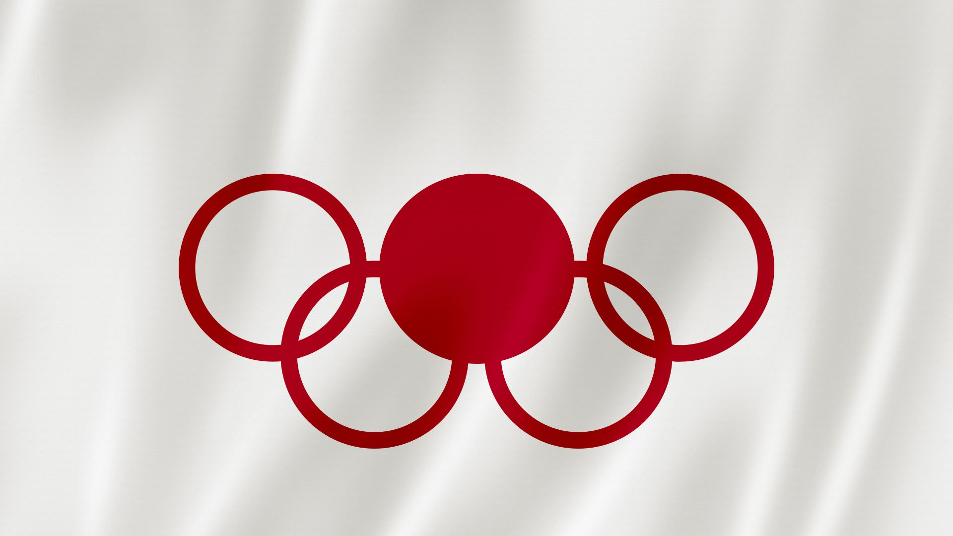Illustration of Japanese flag with the olympics logo