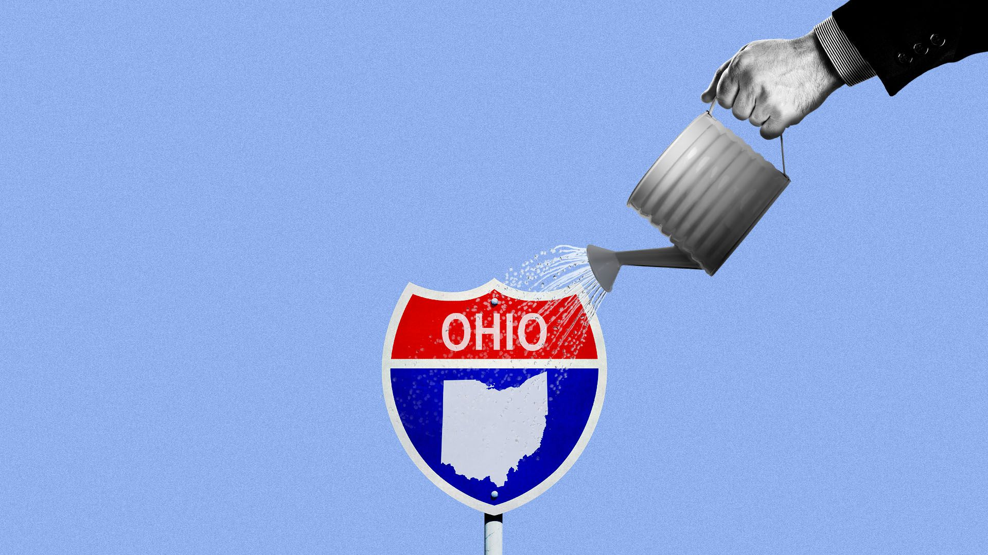 Illustration of an Ohio interstate sign being watered by a hand in a suit