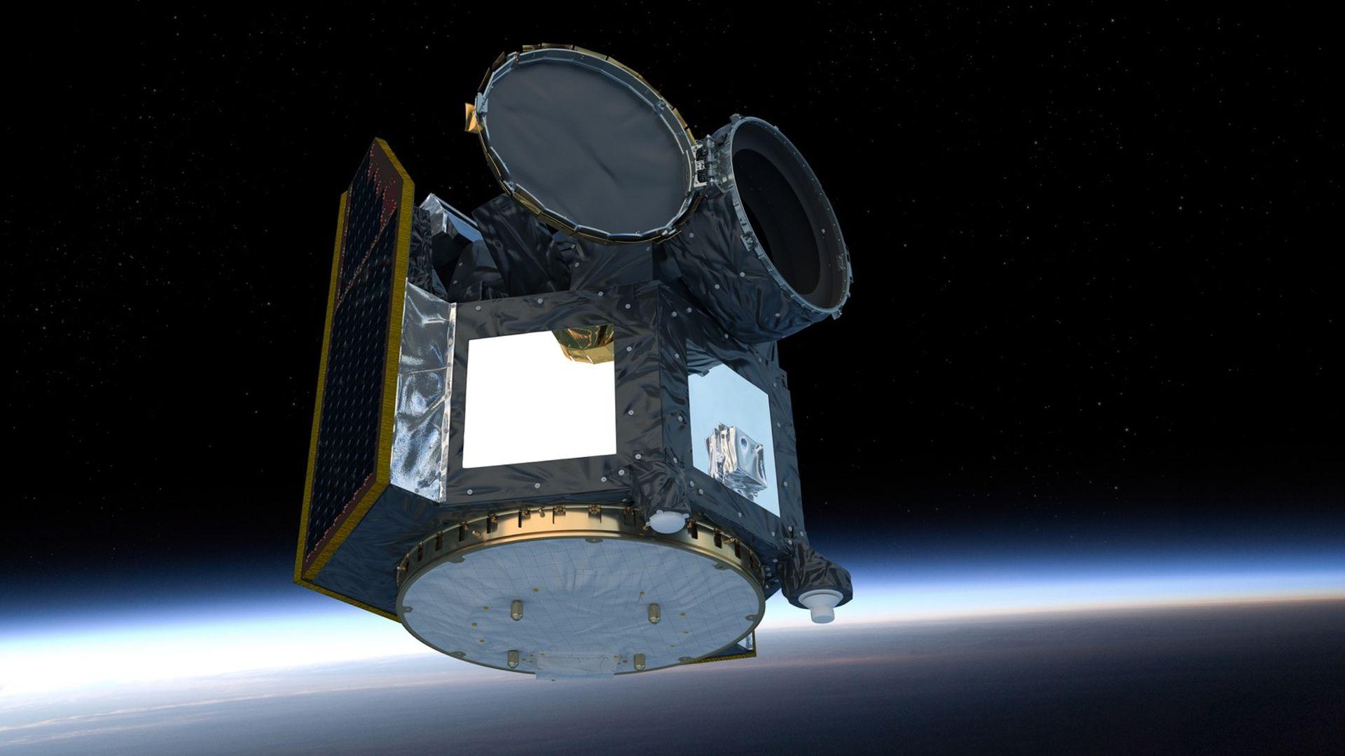 Artist's illustration of the Cheops spacecraft in orbit