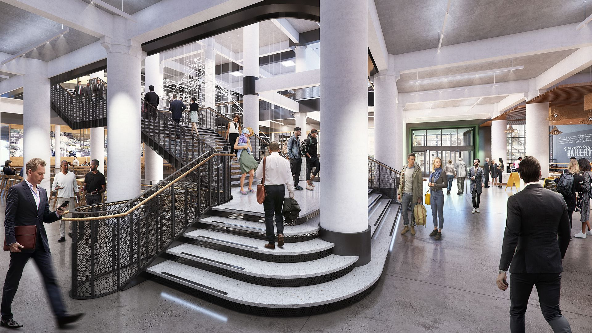 A rendering of business professionals walking up a large staircase in the renovated Dayton's department store project in downtown Minneapolis.