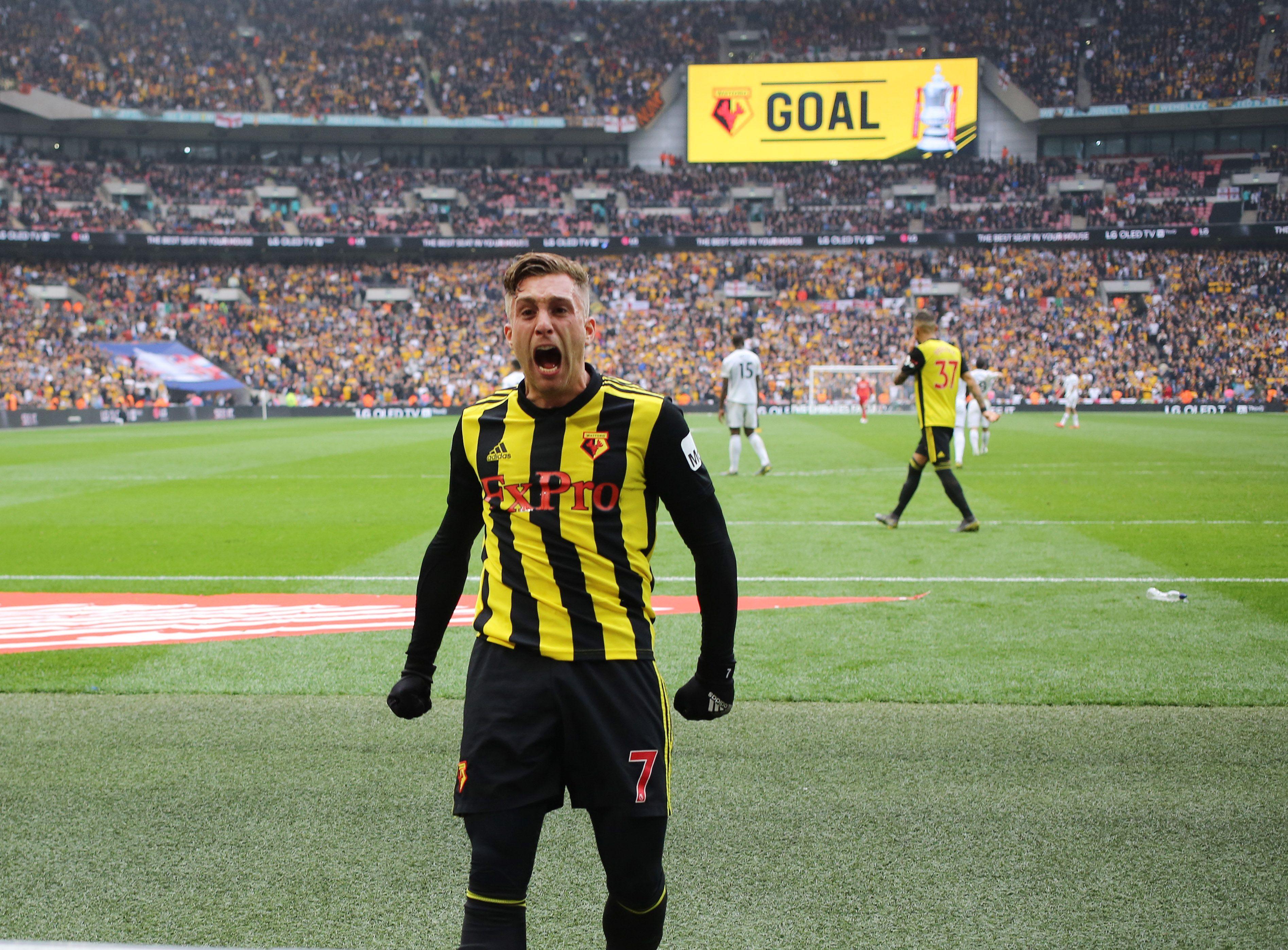 Gerard Deulofeu of Watford celebrates the equalising goal for Watford