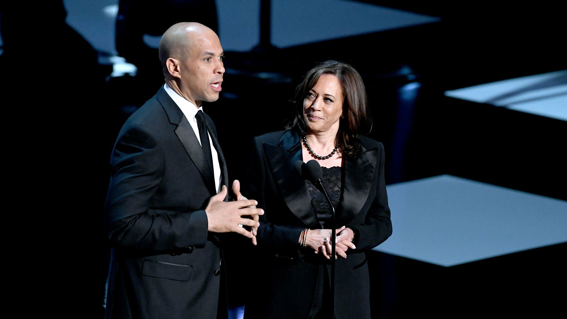 Cory Booker and Kamala Harris speak onstage at the 50th NAACP Image Awards at Dolby Theatre on March 30, 2019 in Hollywood