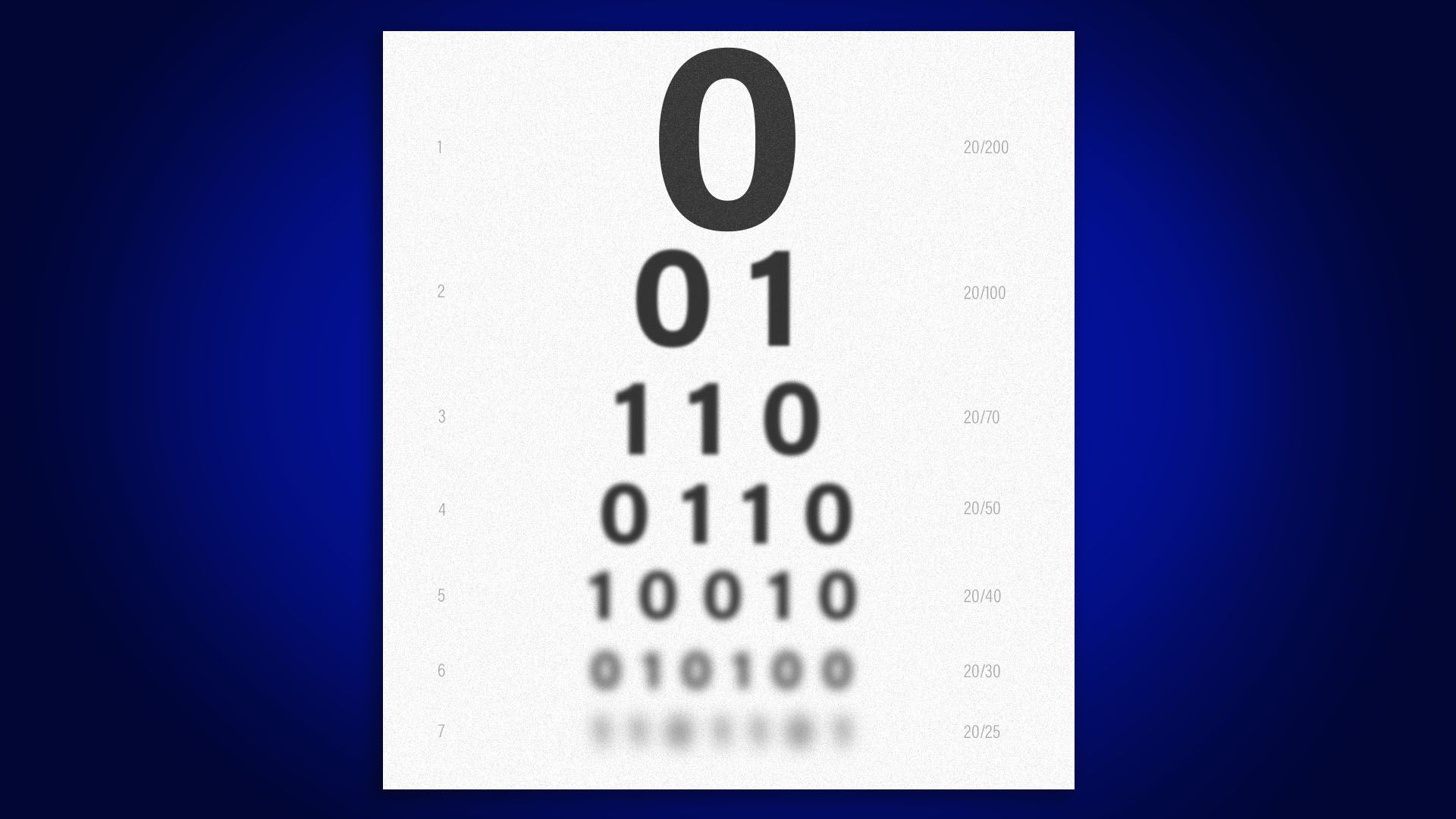 Illustration of an eye chart made up of ones and zeros