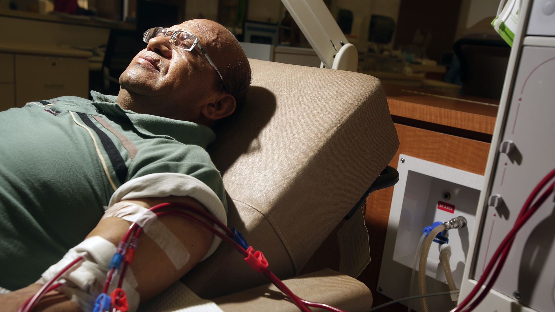 A man gets dialysis treatment at a DaVita center in California.