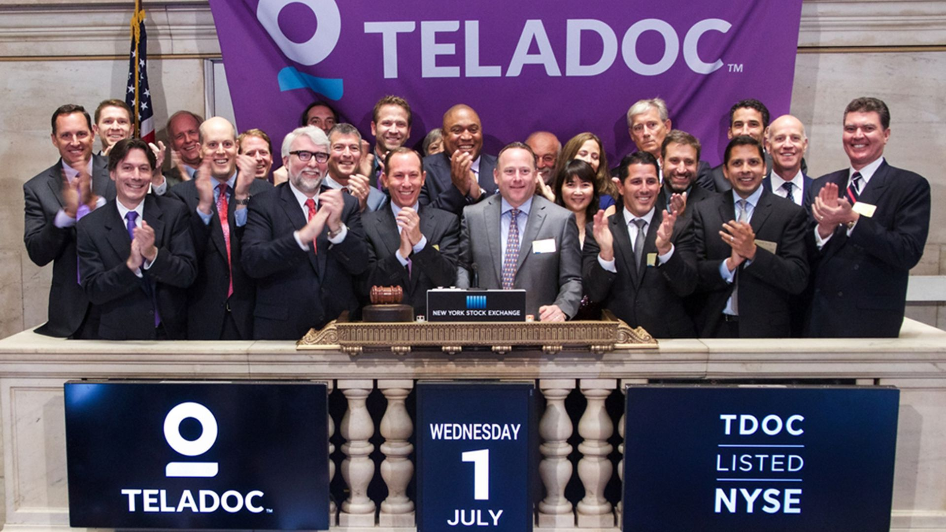Teladoc executives at the New York Stock Exchange.